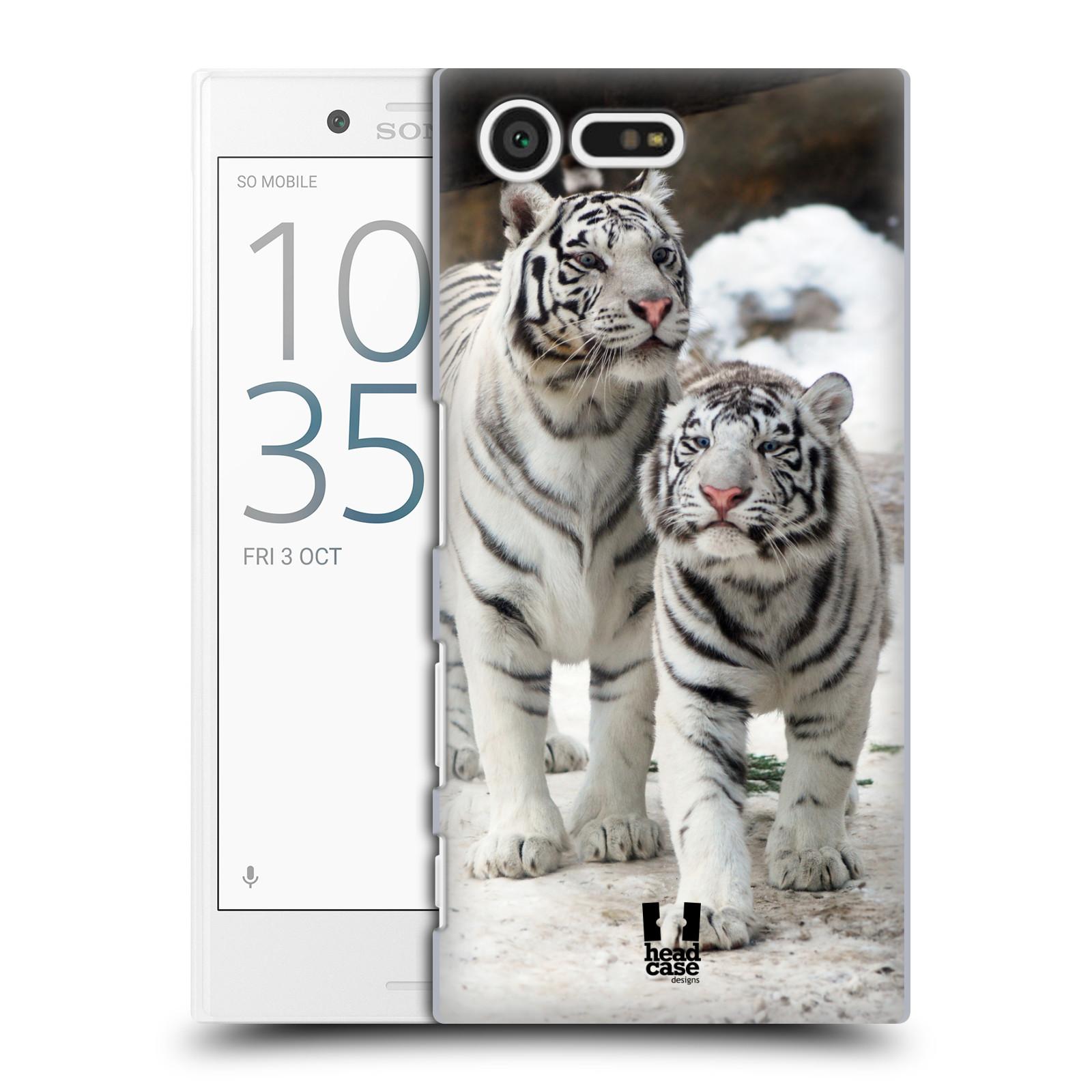 Plastové pouzdro na mobil Sony Xperia X Compact HEAD CASE BÍLÍ TYGŘI