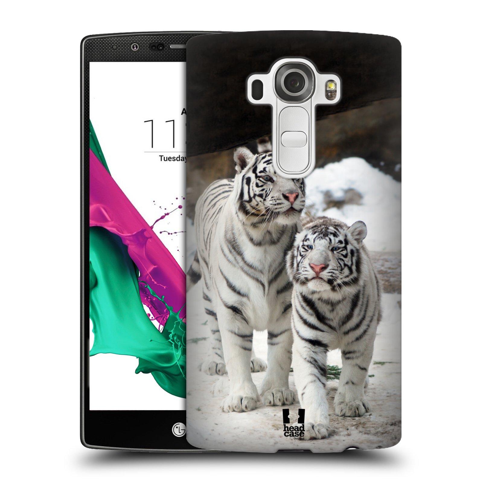 Plastové pouzdro na mobil LG G4 HEAD CASE BÍLÍ TYGŘI (Kryt či obal na mobilní telefon LG G4 H815)