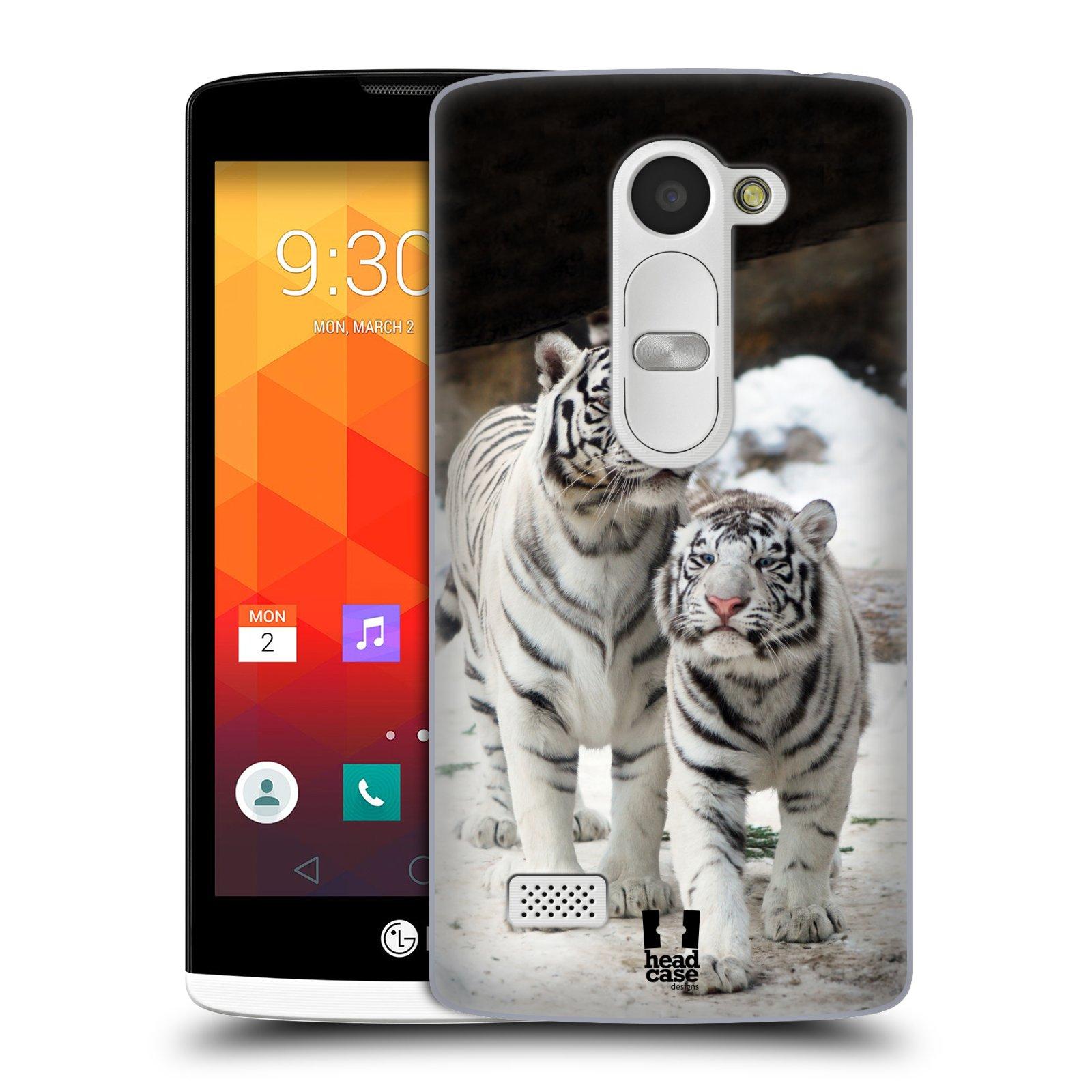 Plastové pouzdro na mobil LG Leon LTE HEAD CASE BÍLÍ TYGŘI (Kryt či obal na mobilní telefon LG Leon H340N)