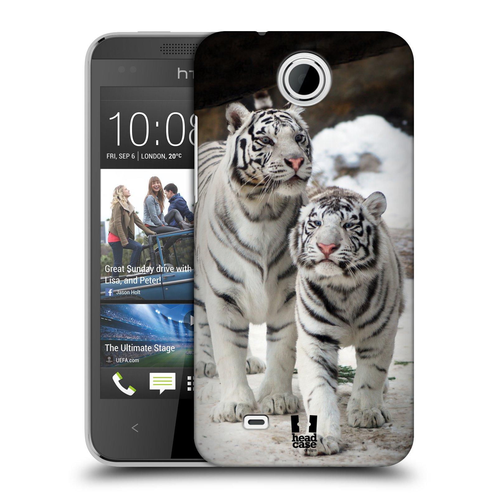 Plastové pouzdro na mobil HTC Desire 300 HEAD CASE BÍLÍ TYGŘI