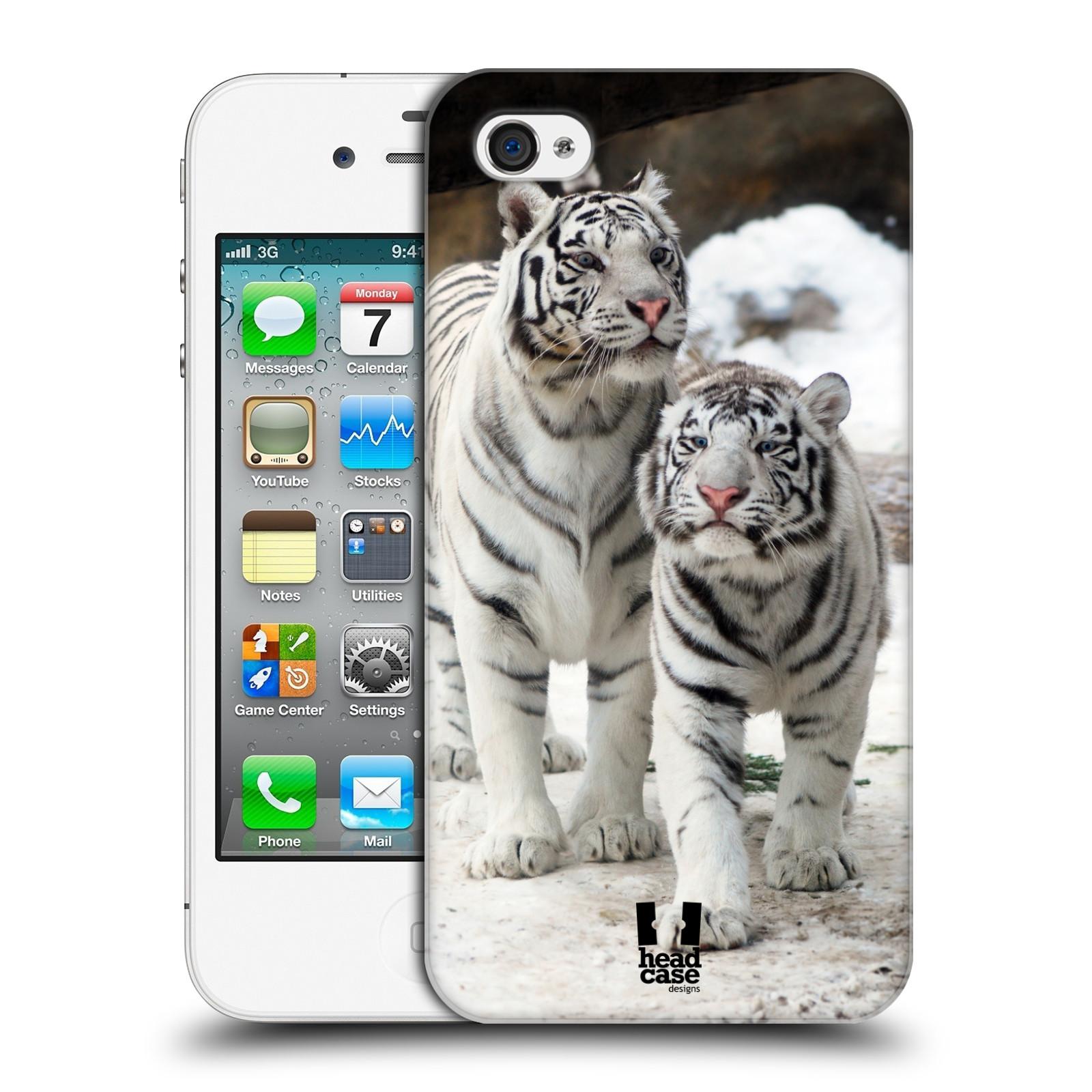 Plastové pouzdro na mobil Apple iPhone 4 a 4S HEAD CASE BÍLÍ TYGŘI (Kryt či obal na mobilní telefon Apple iPhone 4 a 4S)