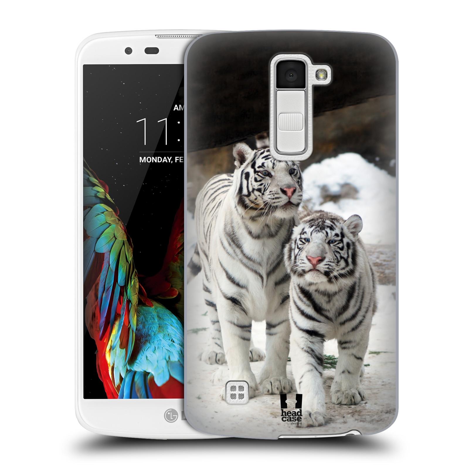 Plastové pouzdro na mobil LG K10 HEAD CASE BÍLÍ TYGŘI (Kryt či obal na mobilní telefon LG K10)