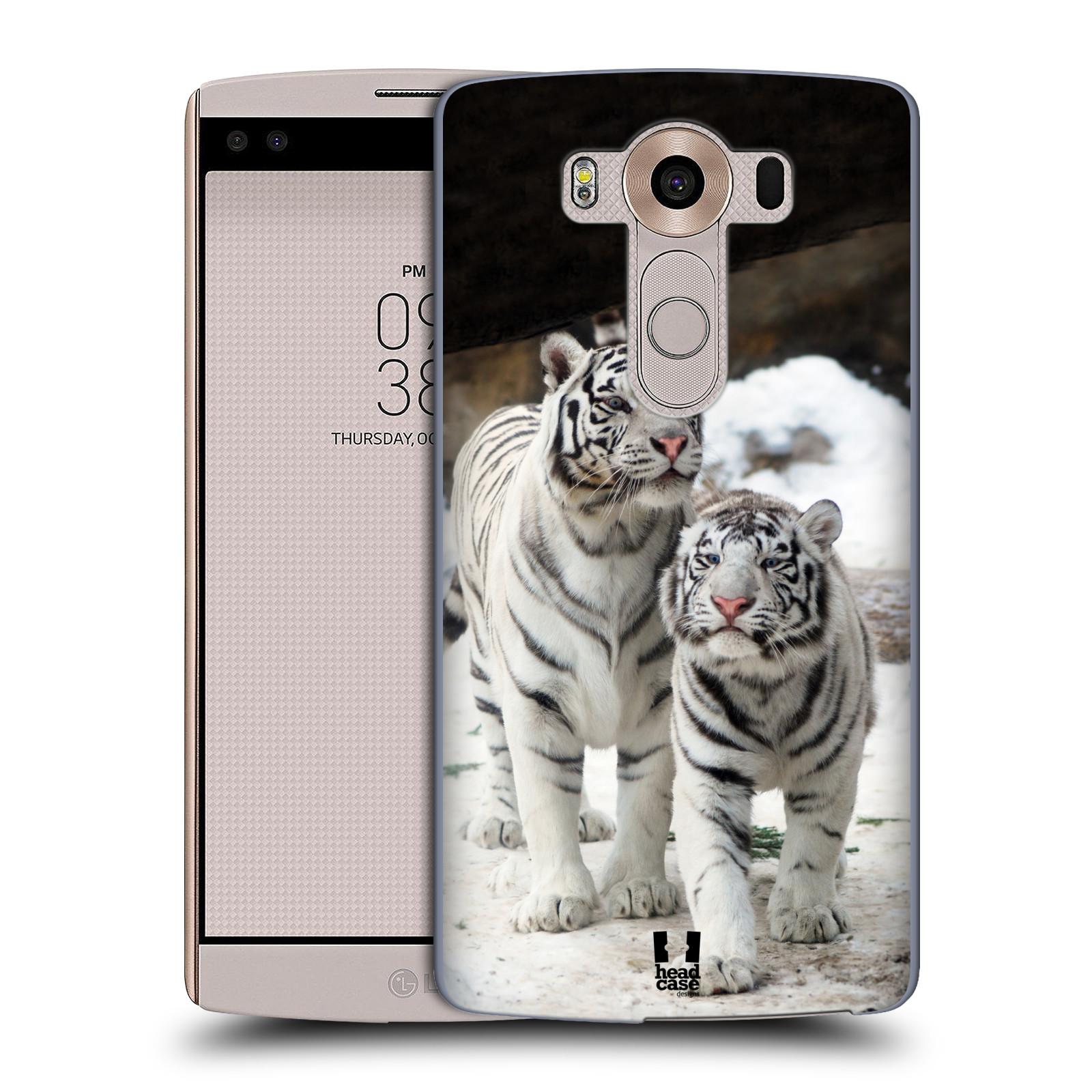 Plastové pouzdro na mobil LG V10 HEAD CASE BÍLÍ TYGŘI (Kryt či obal na mobilní telefon LG V10 H960 / H960A)