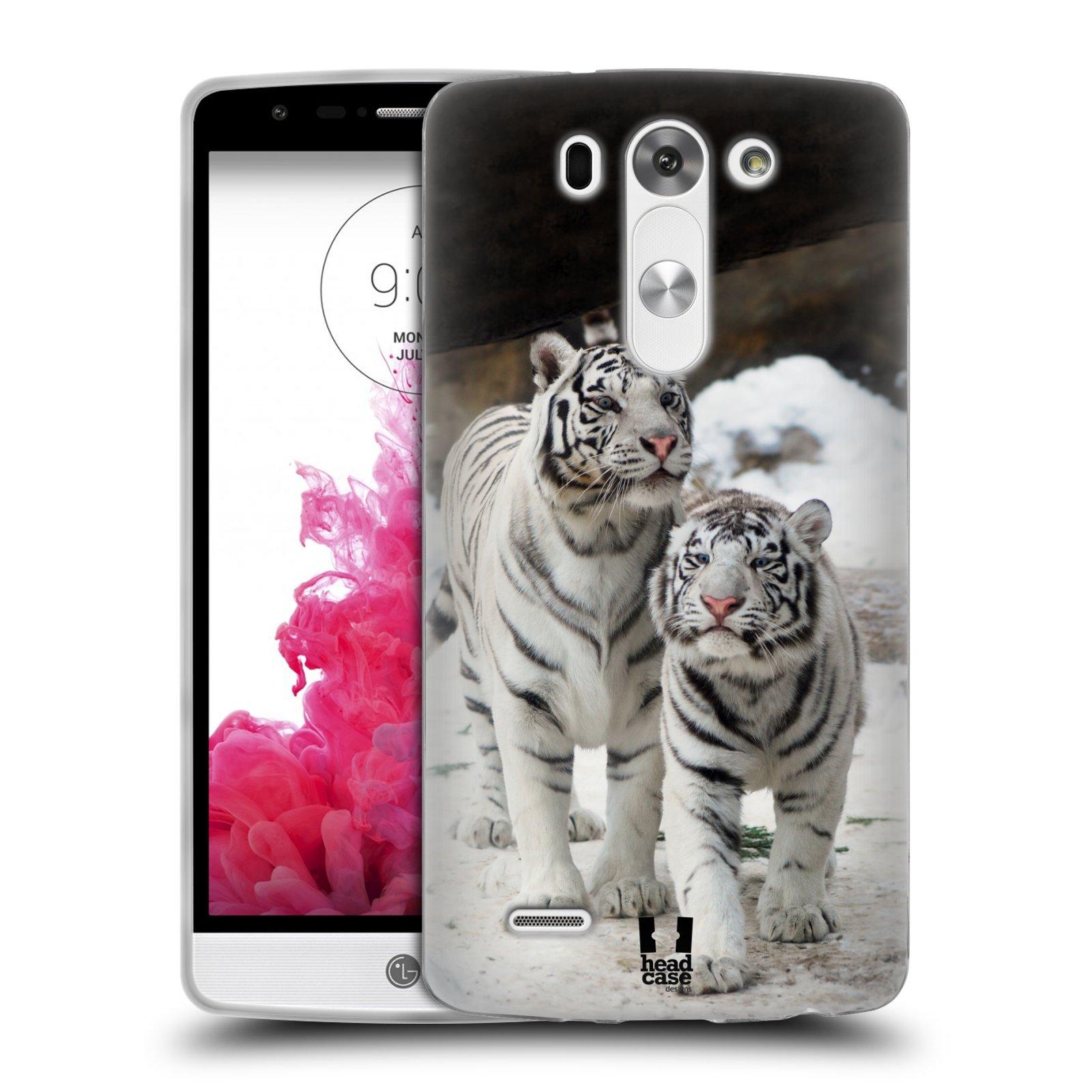 Silikonové pouzdro na mobil LG G3s HEAD CASE BÍLÍ TYGŘI (Silikonový kryt či obal na mobilní telefon LG G3s D722)