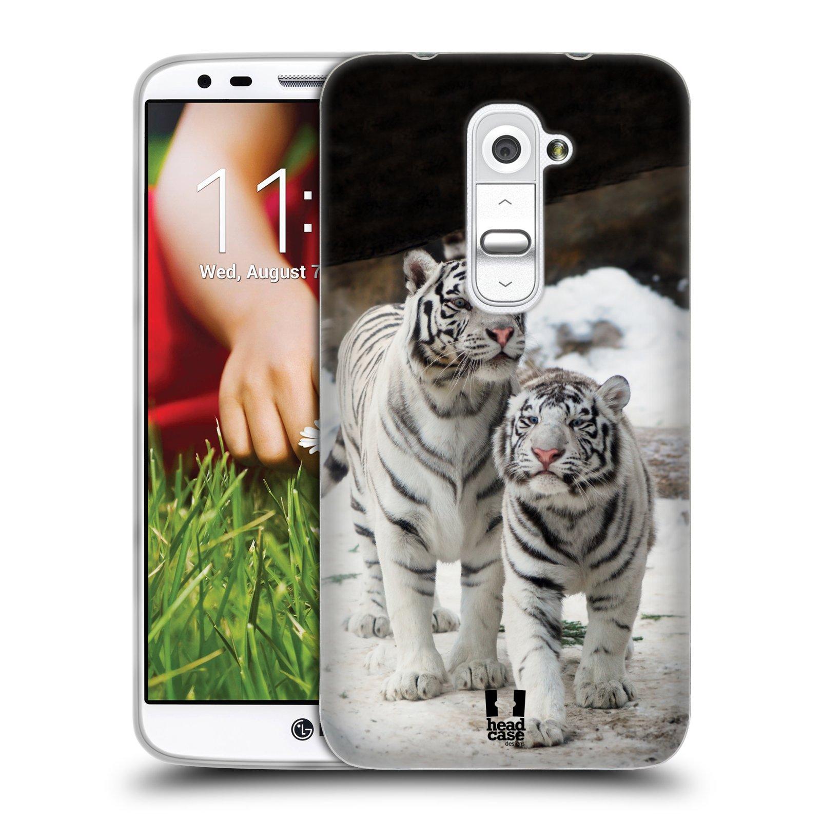 Silikonové pouzdro na mobil LG G2 HEAD CASE BÍLÍ TYGŘI (Silikonový kryt či obal na mobilní telefon LG G2 D802)