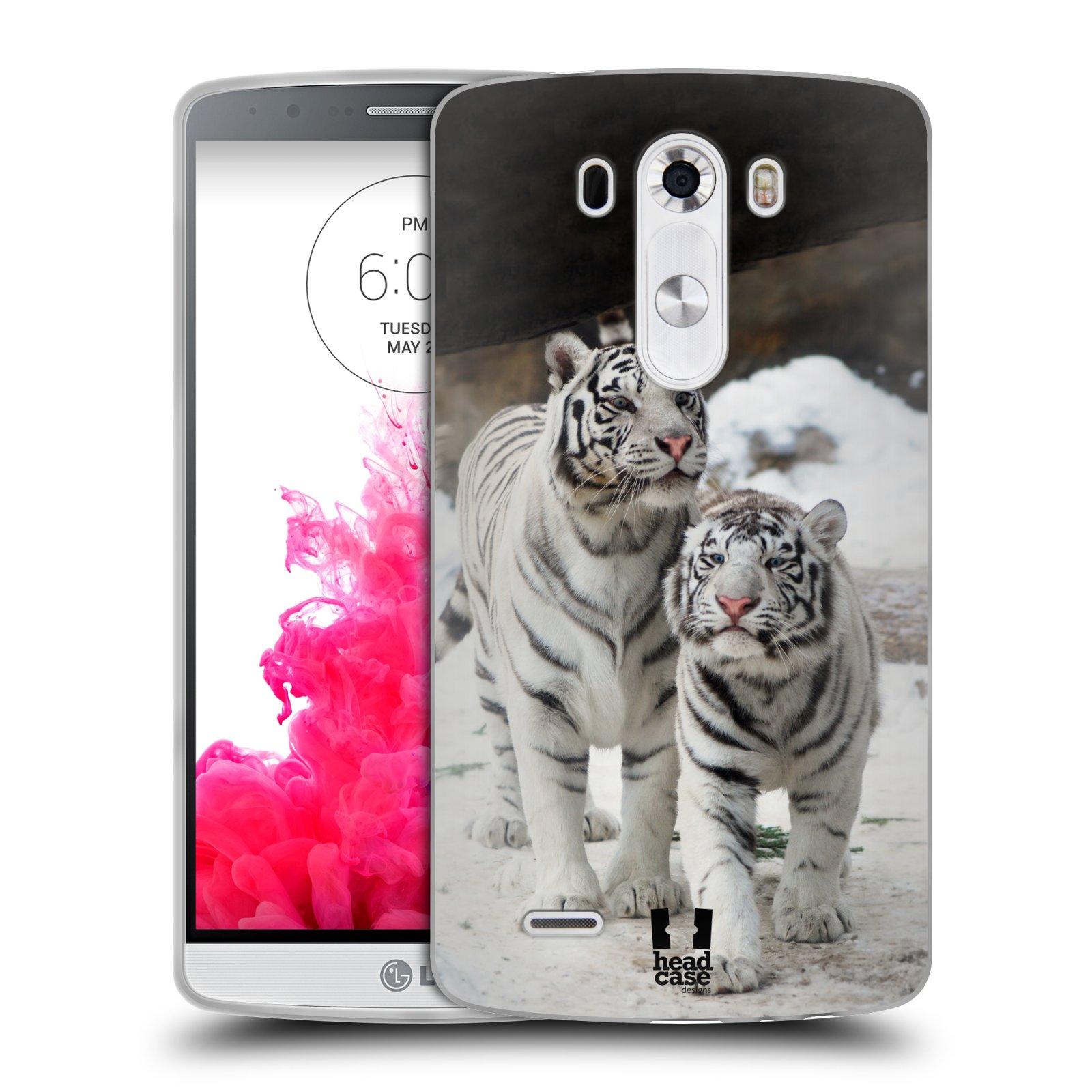 Silikonové pouzdro na mobil LG G3 HEAD CASE BÍLÍ TYGŘI (Silikonový kryt či obal na mobilní telefon LG G3 D855)