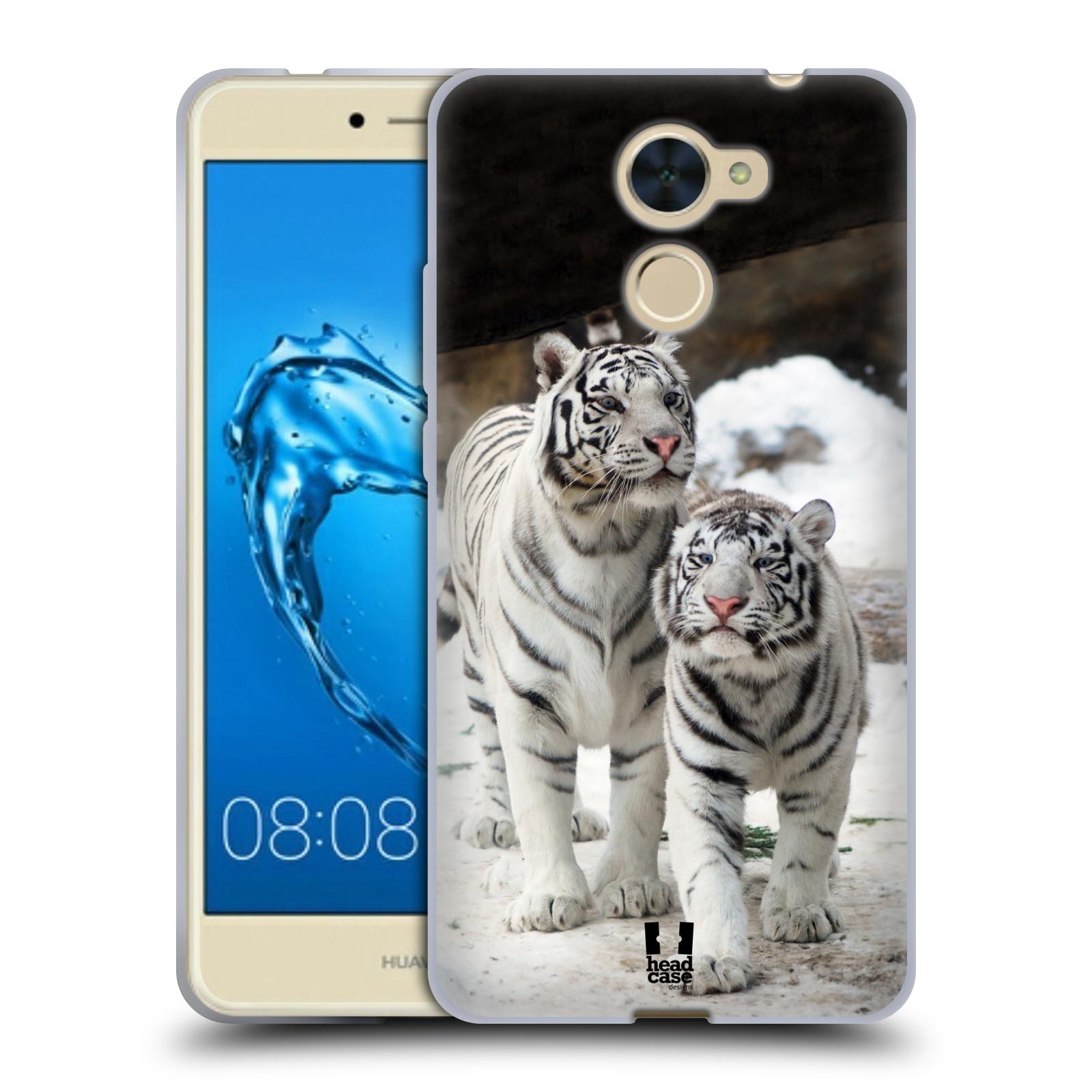 Silikonové pouzdro na mobil Huawei Y7 - Head Case - BÍLÍ TYGŘI