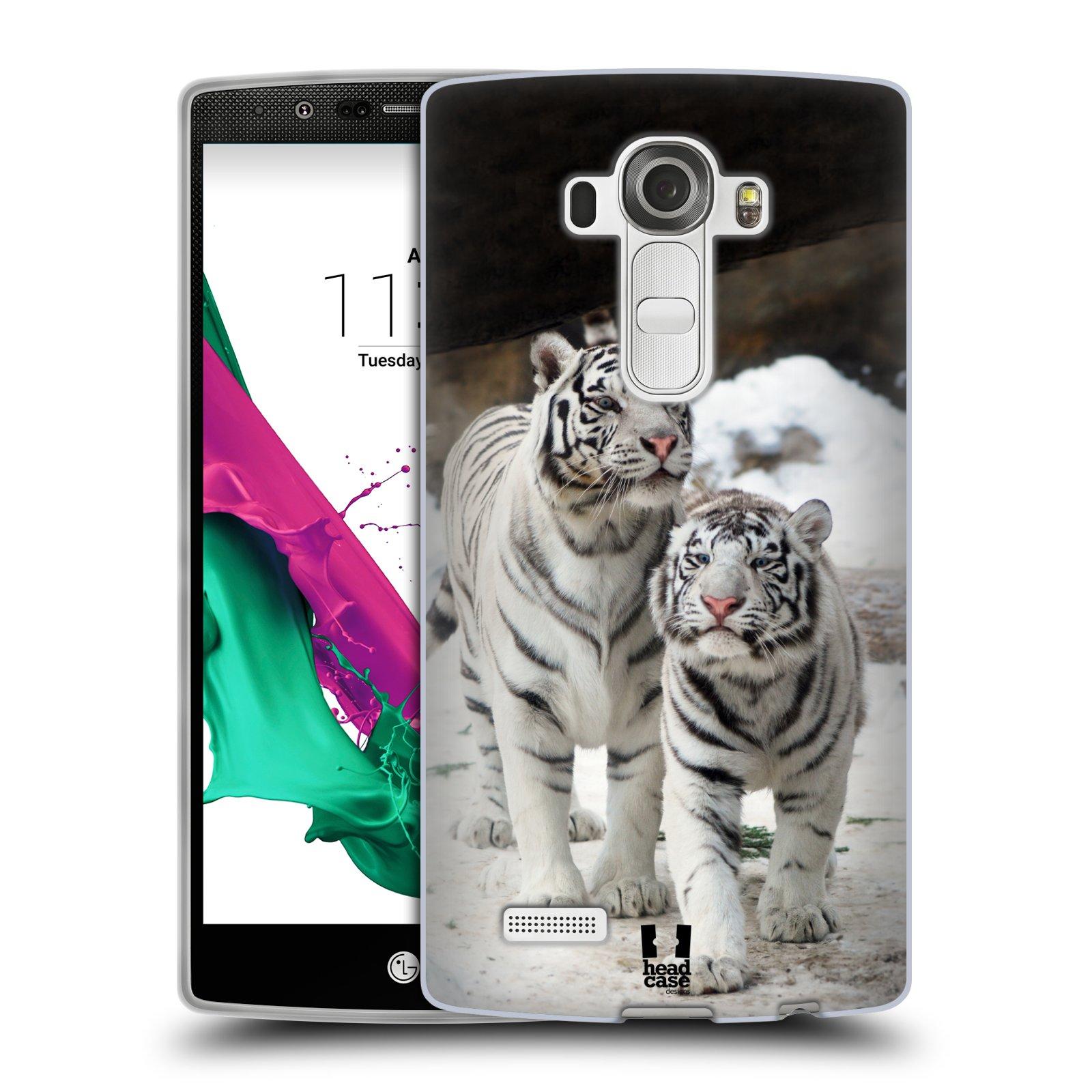 Silikonové pouzdro na mobil LG G4 HEAD CASE BÍLÍ TYGŘI (Silikonový kryt či obal na mobilní telefon LG G4 H815)