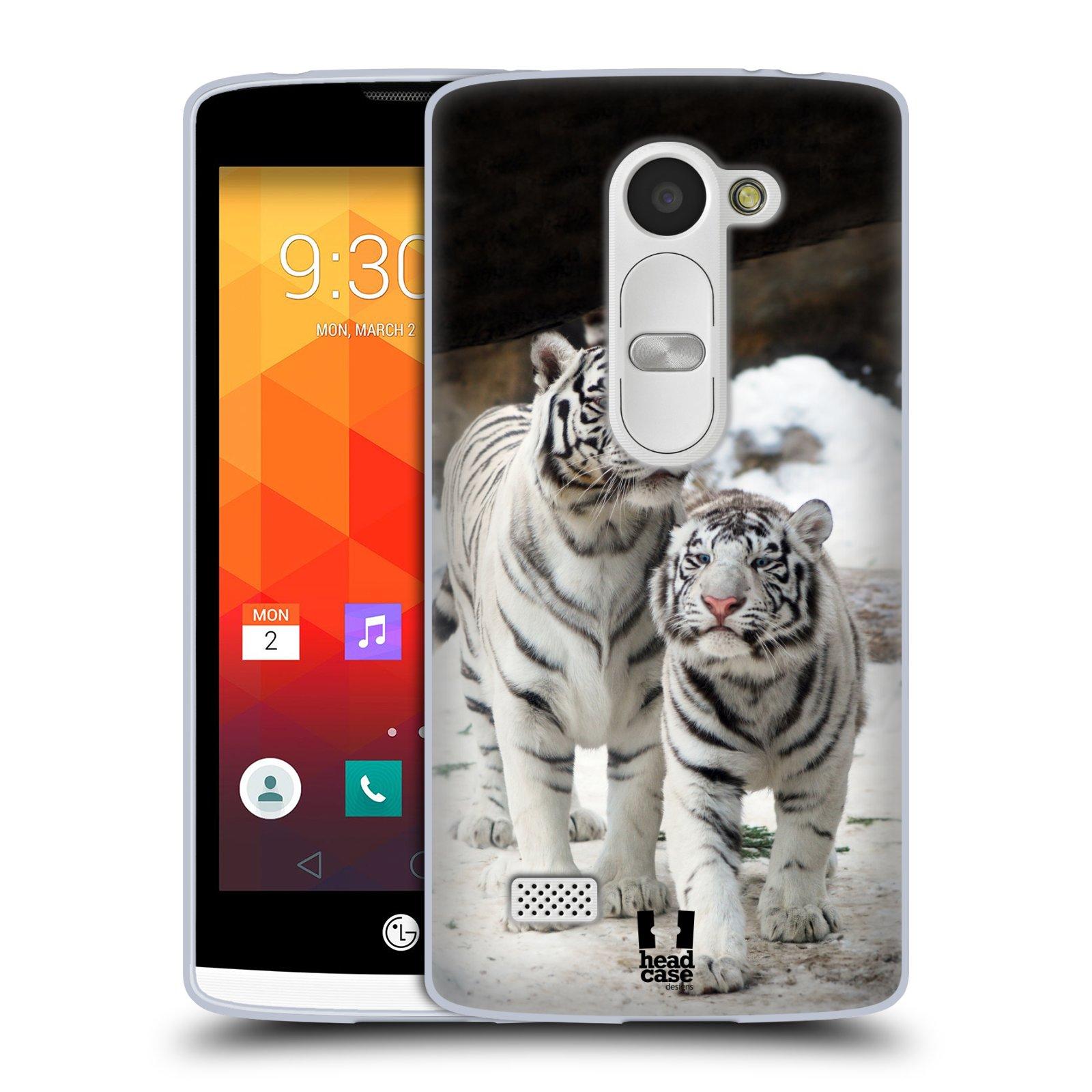 Silikonové pouzdro na mobil LG Leon LTE HEAD CASE BÍLÍ TYGŘI (Silikonový kryt či obal na mobilní telefon LG Leon H320 a LG Leon LTE H340N)