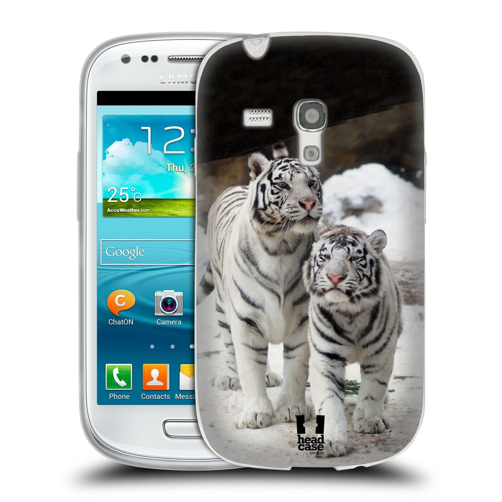 Silikonové pouzdro na mobil Samsung Galaxy S3 Mini VE HEAD CASE BÍLÍ TYGŘI (Silikonový kryt či obal na mobilní telefon Samsung Galaxy S3 Mini VE GT-i8200)