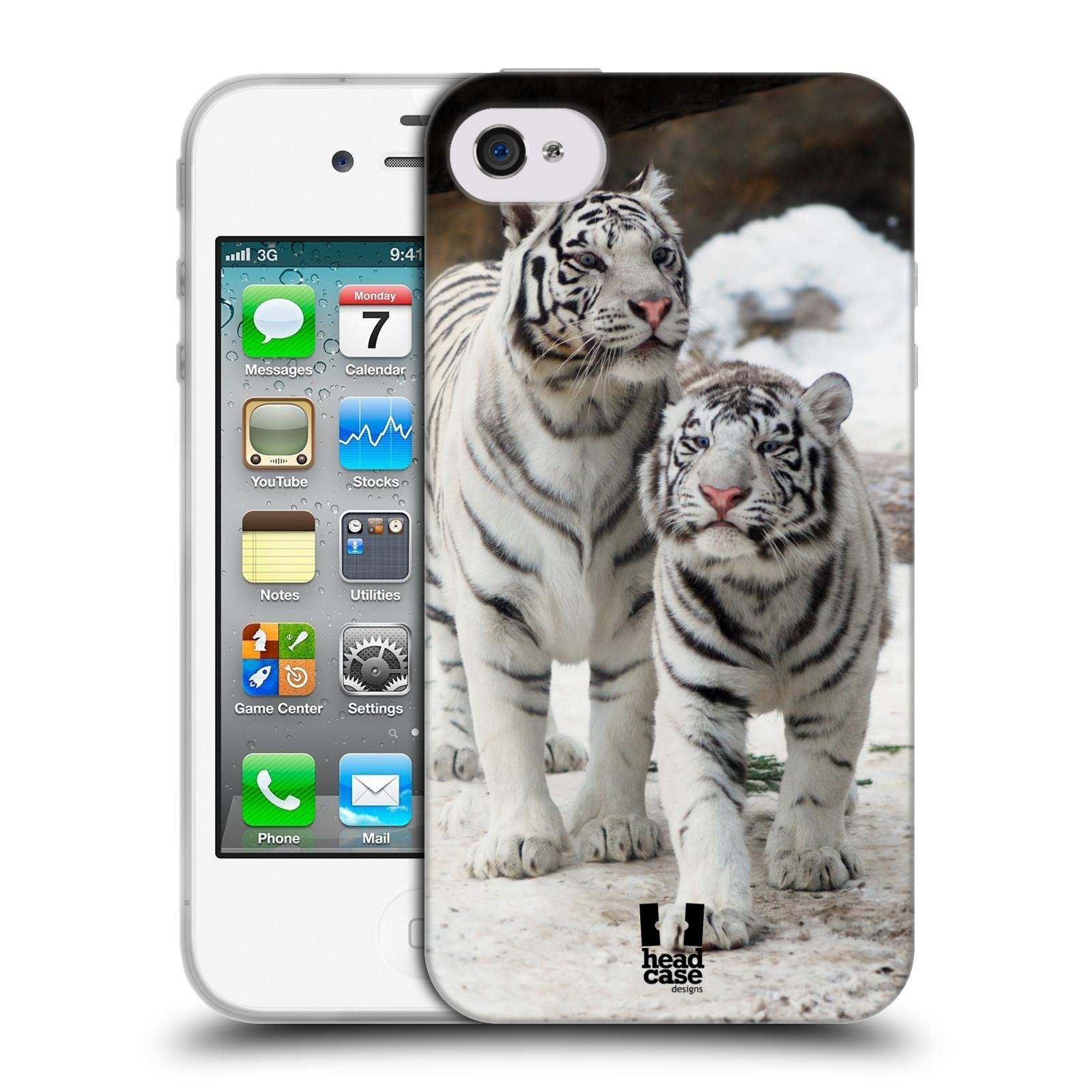 Silikonové pouzdro na mobil Apple iPhone 4 a 4S HEAD CASE BÍLÍ TYGŘI (Silikonový kryt či obal na mobilní telefon Apple iPhone 4 a 4S)
