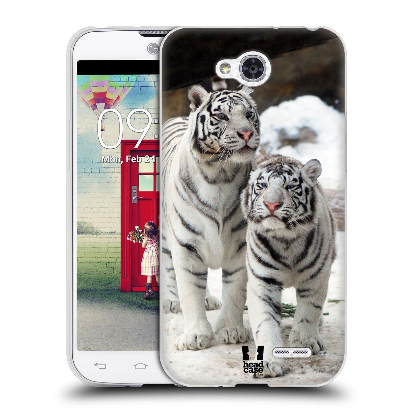 Silikonové pouzdro na mobil LG L90 HEAD CASE BÍLÍ TYGŘI (Silikonový kryt či obal na mobilní telefon LG L90 D405n)