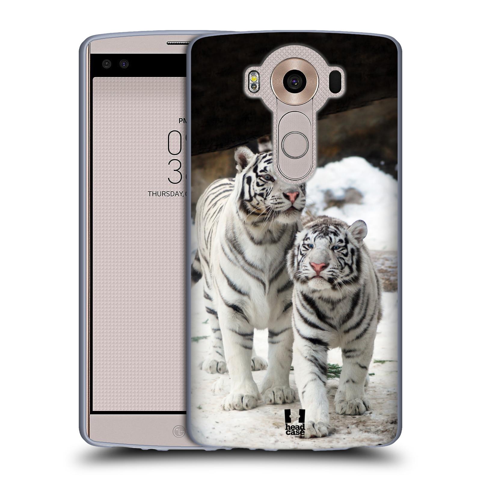 Silikonové pouzdro na mobil LG V10 HEAD CASE BÍLÍ TYGŘI (Silikonový kryt či obal na mobilní telefon LG V10 H960 / H960A)