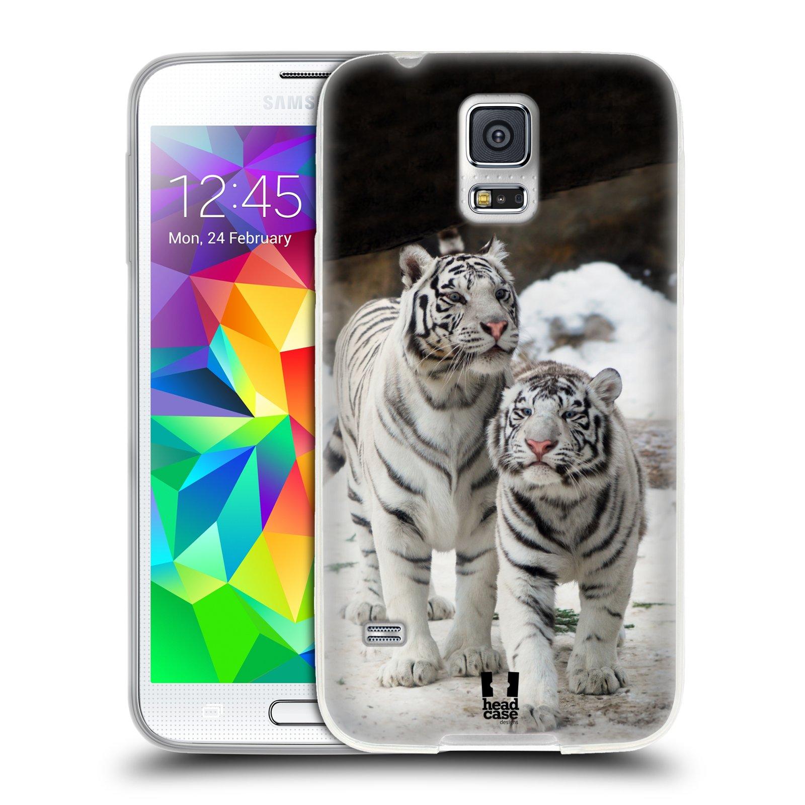 Silikonové pouzdro na mobil Samsung Galaxy S5 Neo HEAD CASE BÍLÍ TYGŘI (Silikonový kryt či obal na mobilní telefon Samsung Galaxy S5 Neo SM-G903F)