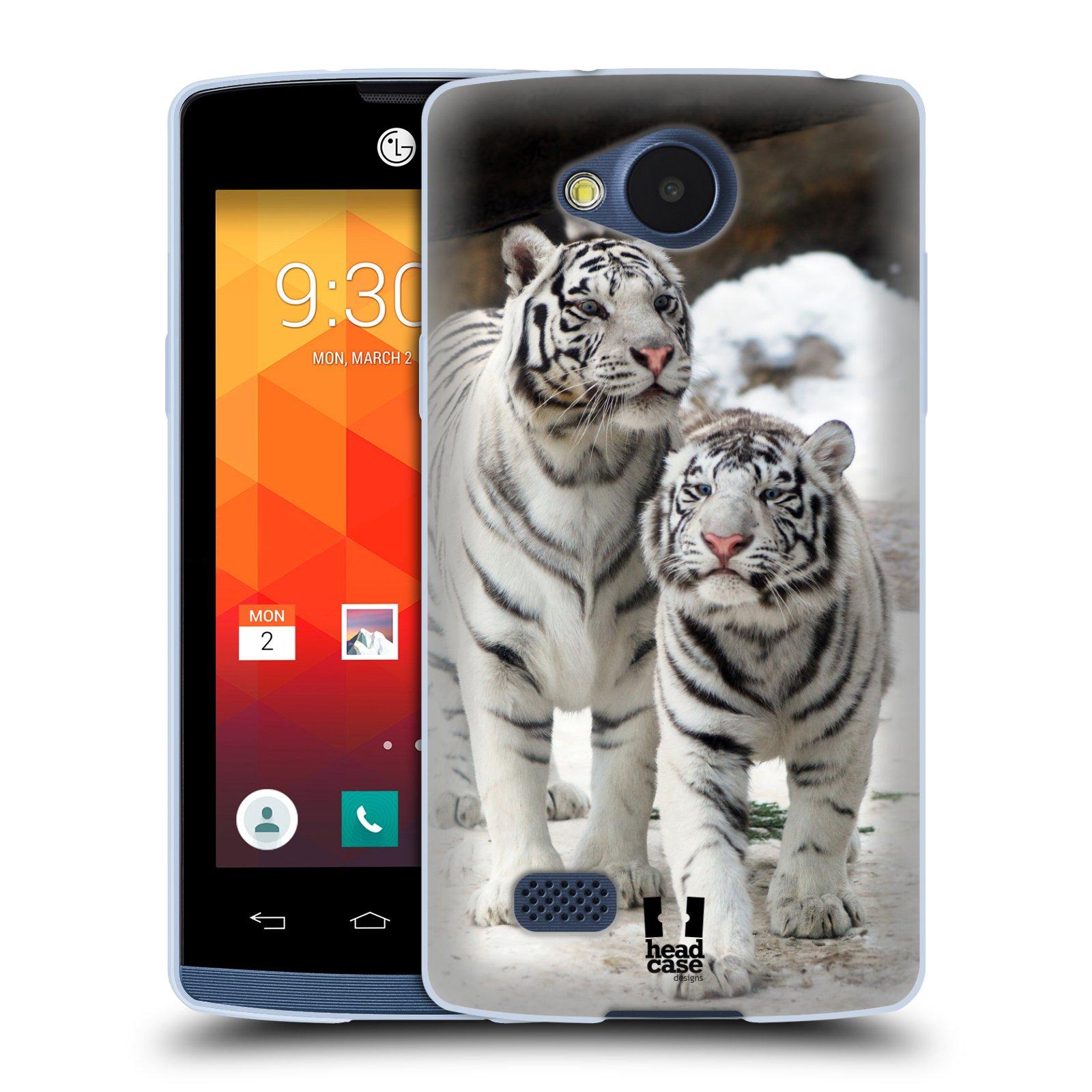 Silikonové pouzdro na mobil LG Joy HEAD CASE BÍLÍ TYGŘI (Silikonový kryt či obal na mobilní telefon LG Joy H220)
