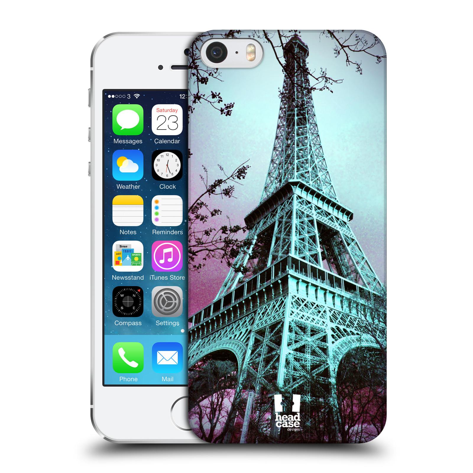 Plastové pouzdro na mobil Apple iPhone SE, 5 a 5S HEAD CASE RŮŽOVOMODRÁ AIFELOVKA