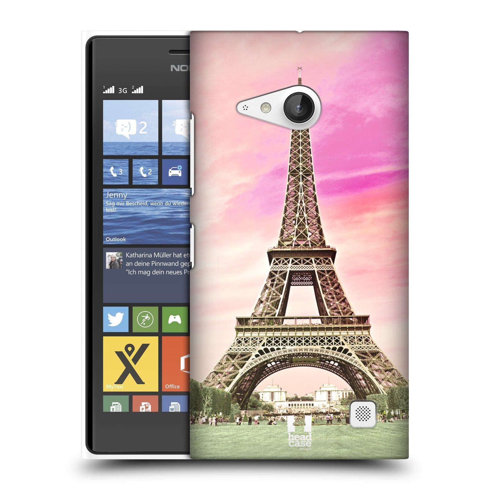 Plastové pouzdro na mobil Nokia Lumia 735 HEAD CASE RŮŽOVÁ AIFELOVKA (Kryt či obal na mobilní telefon Nokia Lumia 735)