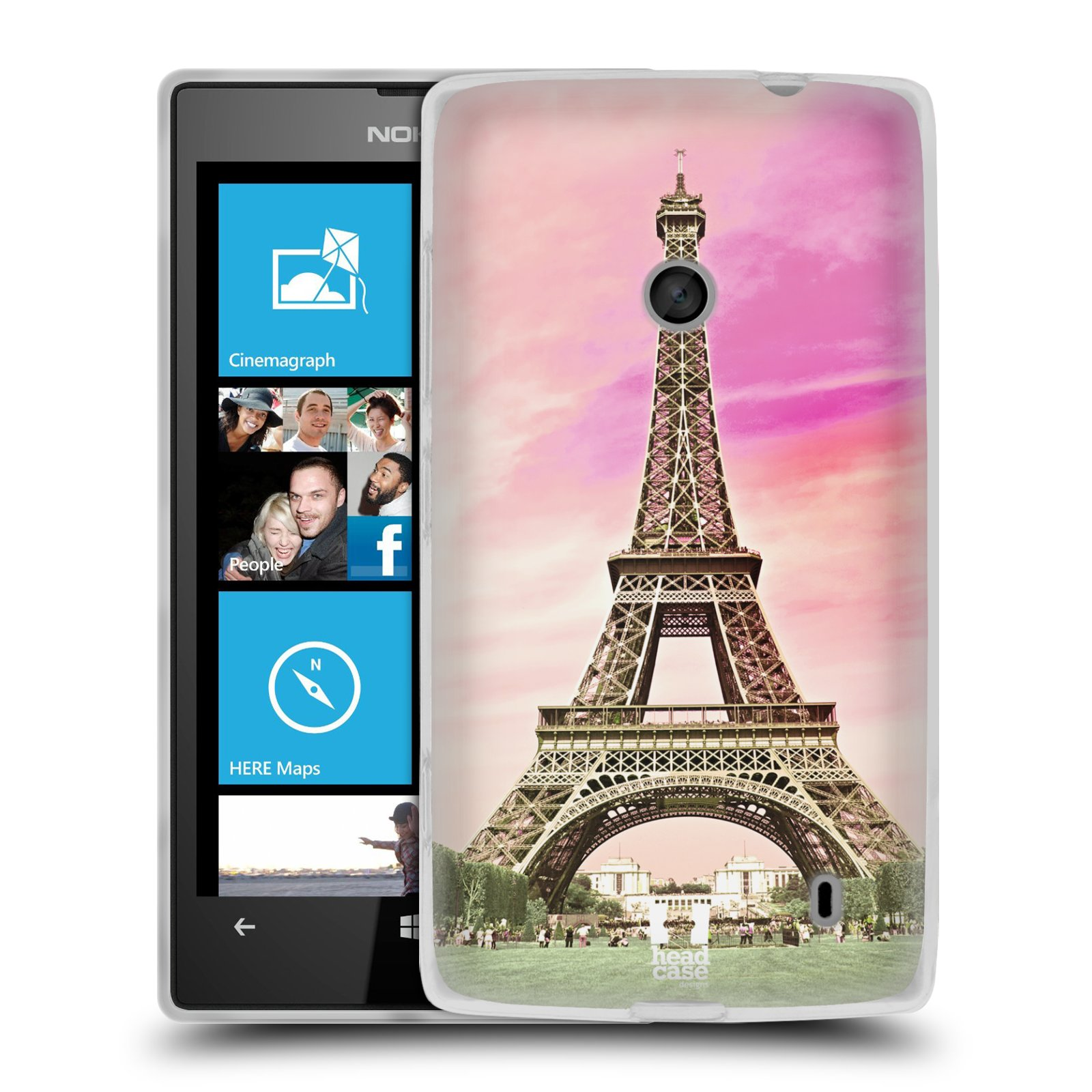 Silikonové pouzdro na mobil Nokia Lumia 520 HEAD CASE RŮŽOVÁ AIFELOVKA (Silikonový Kryt či obal na mobilní telefon Nokia Lumia 520)
