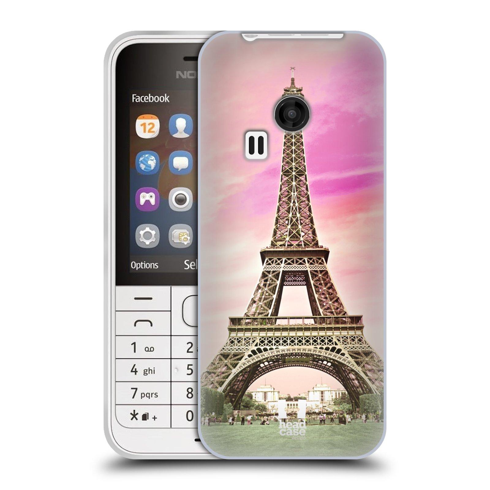 Silikonové pouzdro na mobil Nokia 220 HEAD CASE RŮŽOVÁ AIFELOVKA (Silikonový kryt či obal na mobilní telefon Nokia 220 a 220 Dual SIM)