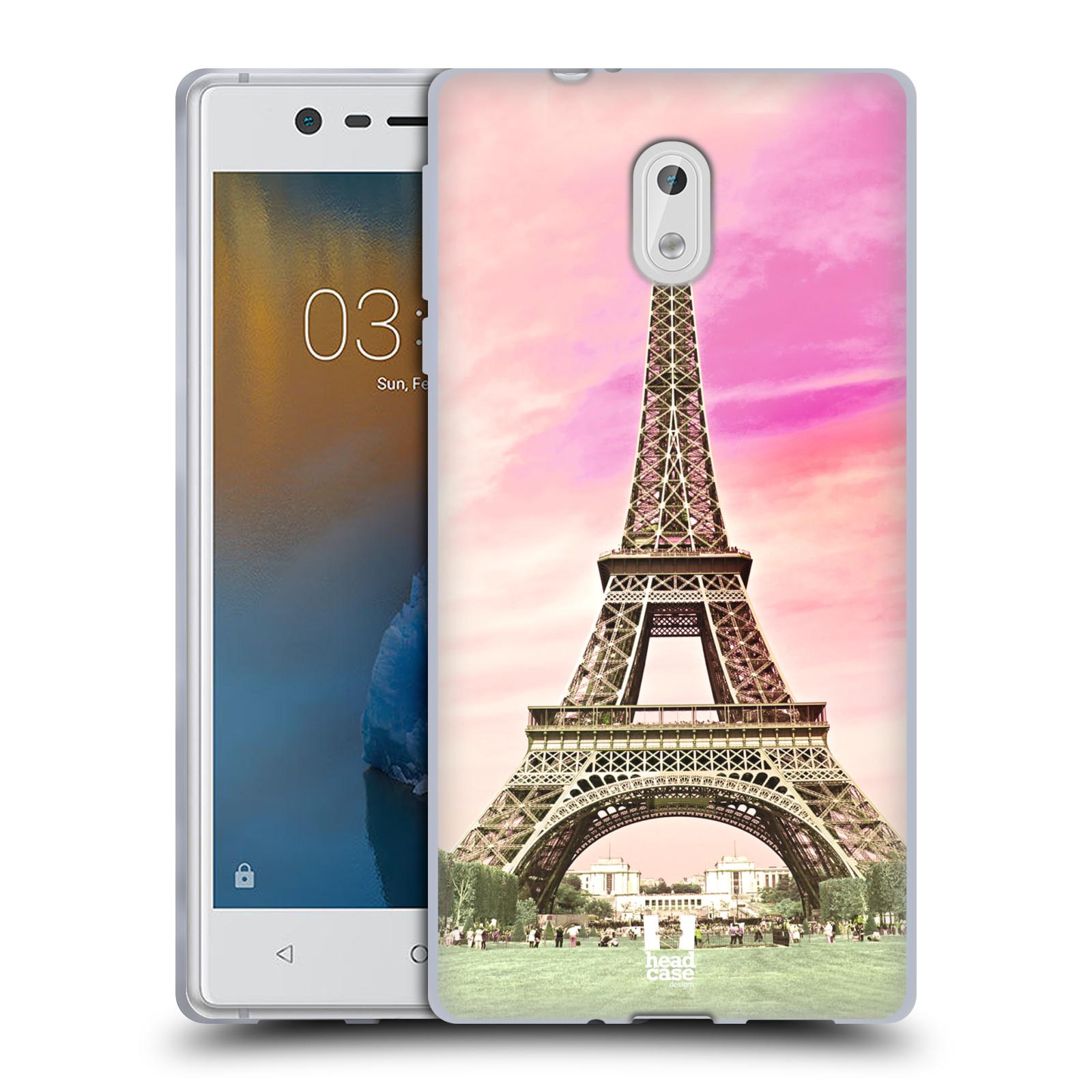 Silikonové pouzdro na mobil Nokia 3 Head Case - RŮŽOVÁ AIFELOVKA (Silikonový kryt či obal na mobilní telefon Nokia 3 (2017))