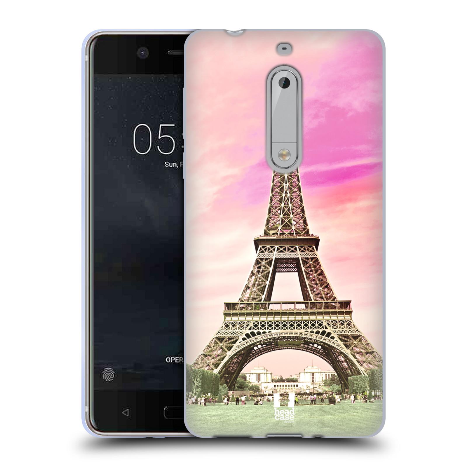 Silikonové pouzdro na mobil Nokia 5 Head Case - RŮŽOVÁ AIFELOVKA (Silikonový kryt či obal na mobilní telefon Nokia 5 (2017))