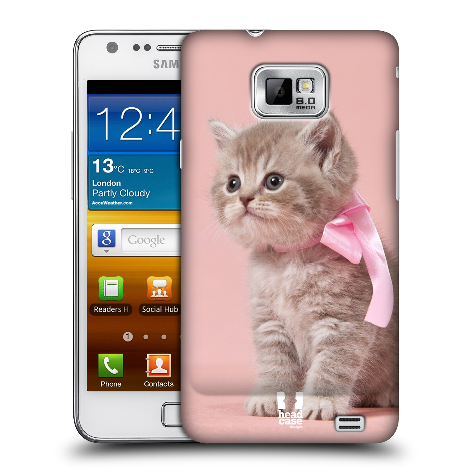 Plastové pouzdro na mobil Samsung Galaxy S II HEAD CASE KOTĚ S MAŠLÍ (Kryt či obal na mobilní telefon Samsung Galaxy S II GT-i9100)
