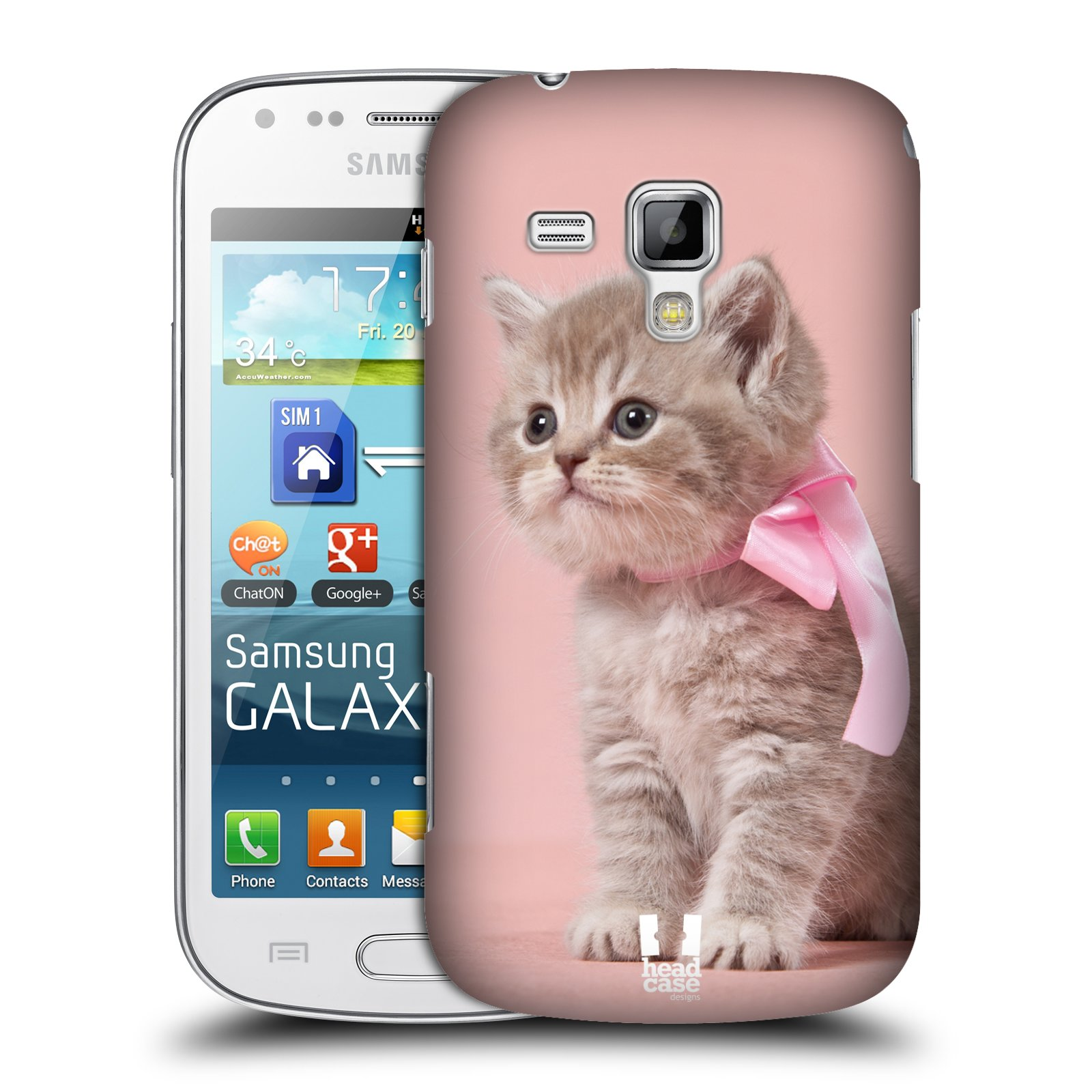 Plastové pouzdro na mobil Samsung Galaxy S Duos HEAD CASE KOTĚ S MAŠLÍ (Kryt či obal na mobilní telefon Samsung Galaxy S Duos GT-S7562)