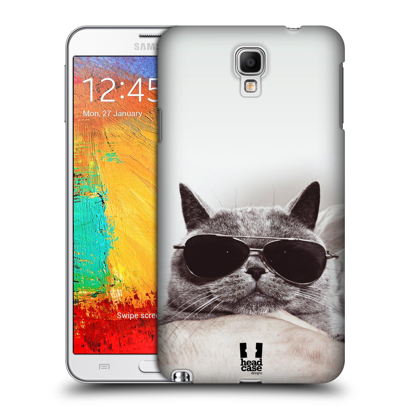 Plastové pouzdro na mobil Samsung Galaxy Note 3 Neo HEAD CASE KOTĚ S BRÝLEMI (Kryt či obal na mobilní telefon Samsung Galaxy Note 3 Neo SM-N7505)