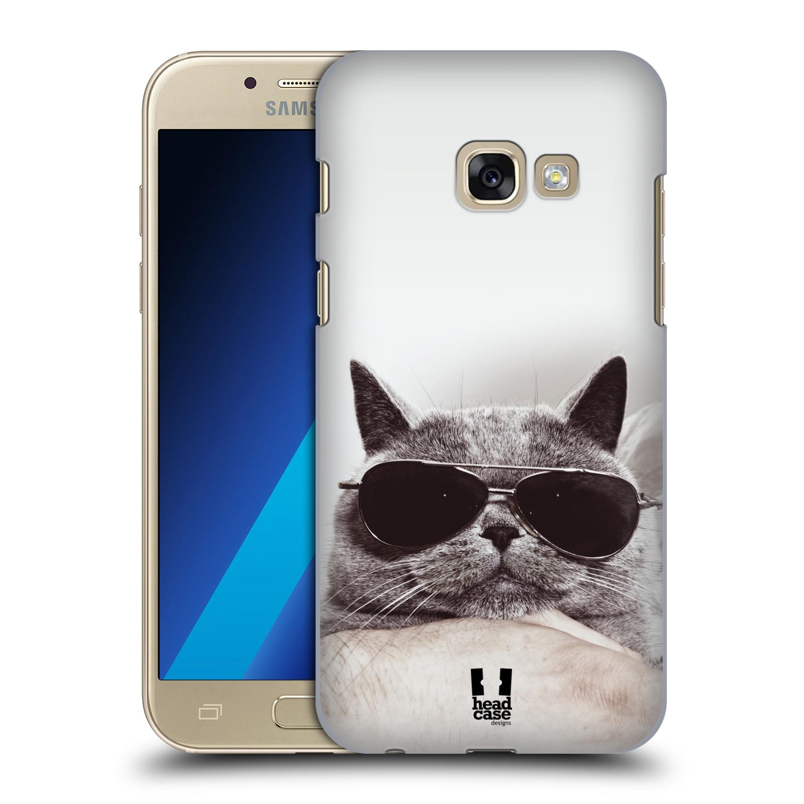 Plastové pouzdro na mobil Samsung Galaxy A3 (2017) HEAD CASE KOTĚ S BRÝLEMI (Plastový kryt či obal na mobilní telefon Samsung Galaxy A3 2017 SM-A320)