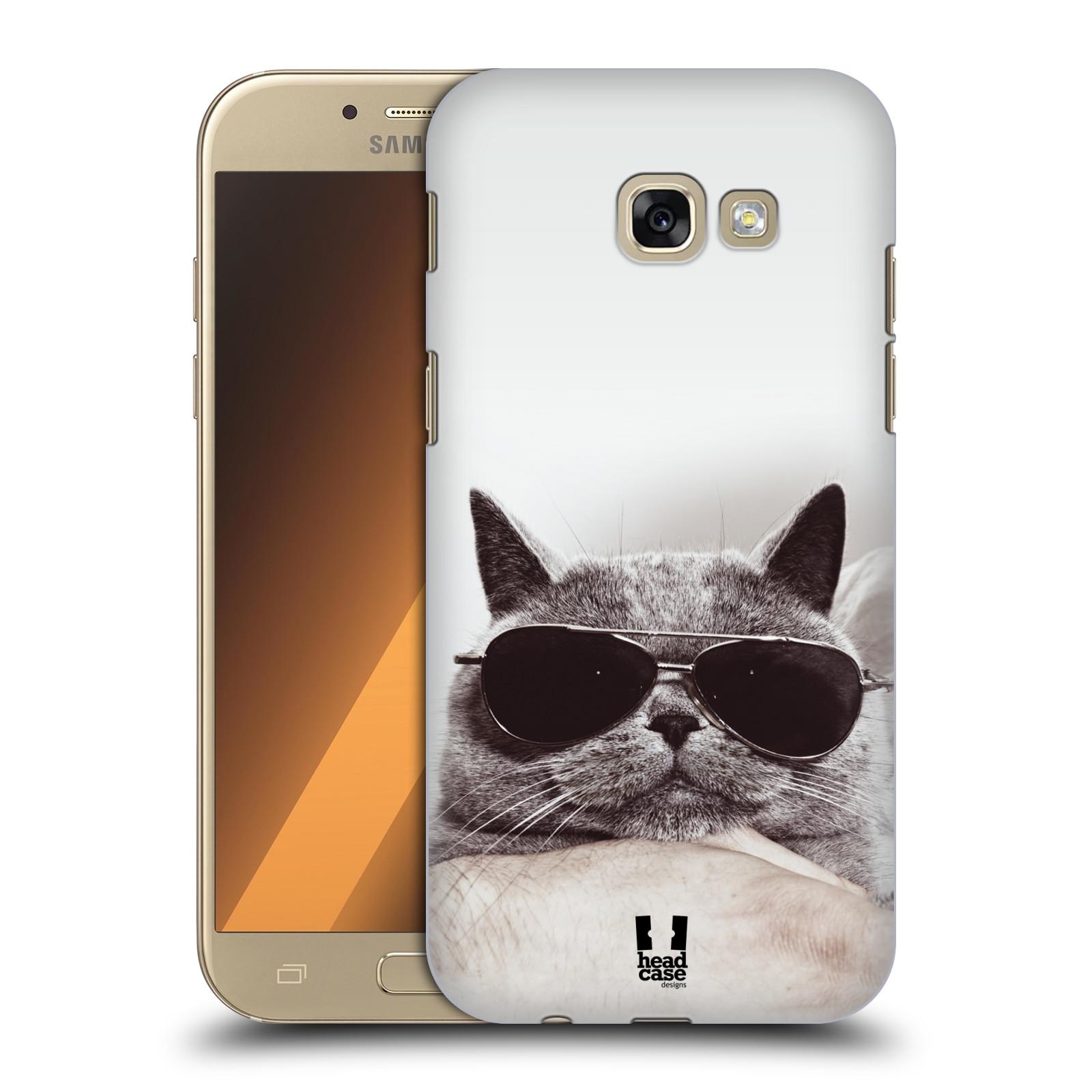Plastové pouzdro na mobil Samsung Galaxy A5 (2017) HEAD CASE KOTĚ S BRÝLEMI (Plastový kryt či obal na mobilní telefon Samsung Galaxy A5 2017 SM-A520)