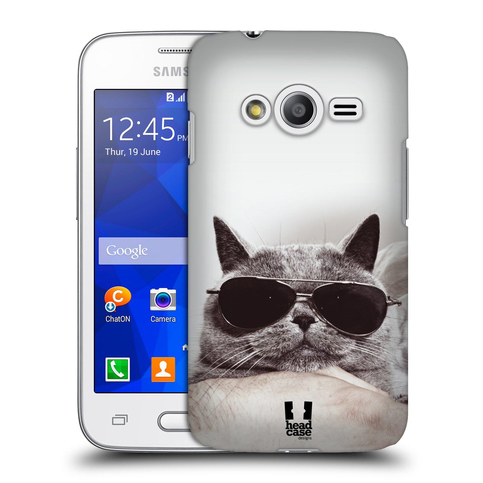 Plastové pouzdro na mobil Samsung Galaxy Trend 2 Lite HEAD CASE KOTĚ S BRÝLEMI (Kryt či obal na mobilní telefon Samsung Galaxy Trend 2 Lite SM-G318)