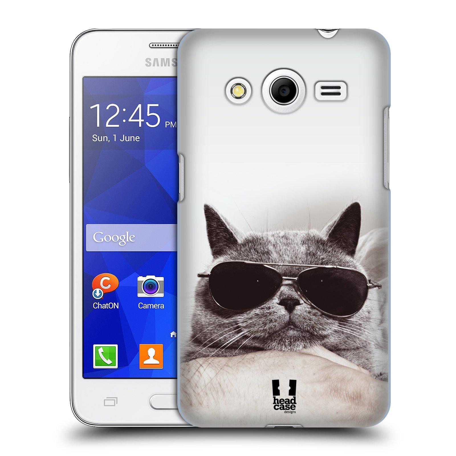 Plastové pouzdro na mobil Samsung Galaxy Core 2 HEAD CASE KOTĚ S BRÝLEMI (Kryt či obal na mobilní telefon Samsung Galaxy Core 2 SM-G355H)