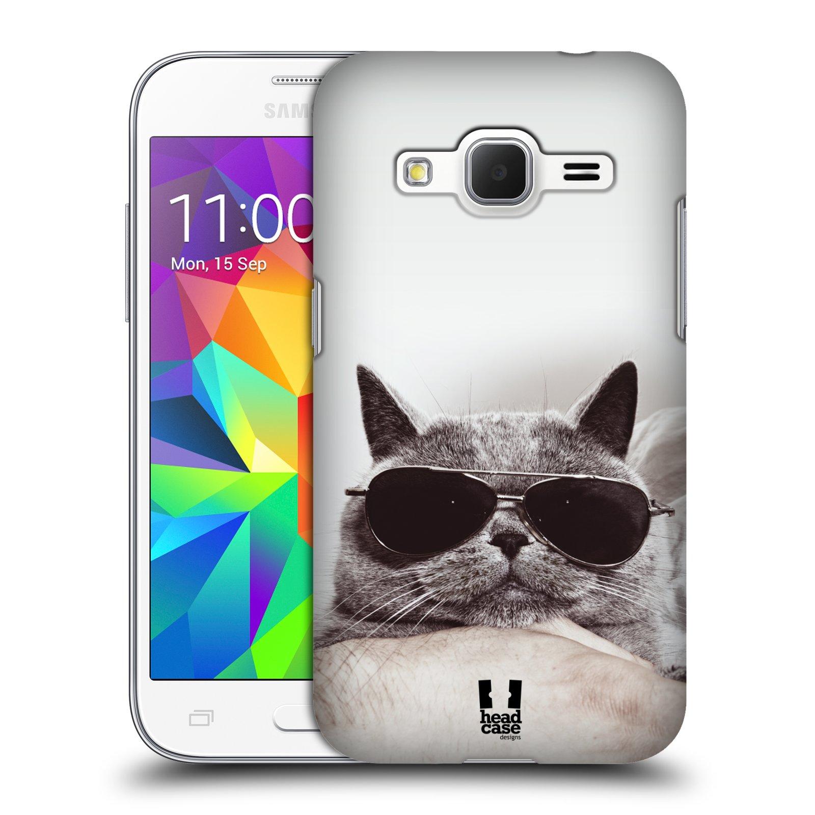 Plastové pouzdro na mobil Samsung Galaxy Core Prime LTE HEAD CASE KOTĚ S BRÝLEMI (Kryt či obal na mobilní telefon Samsung Galaxy Core Prime LTE SM-G360)