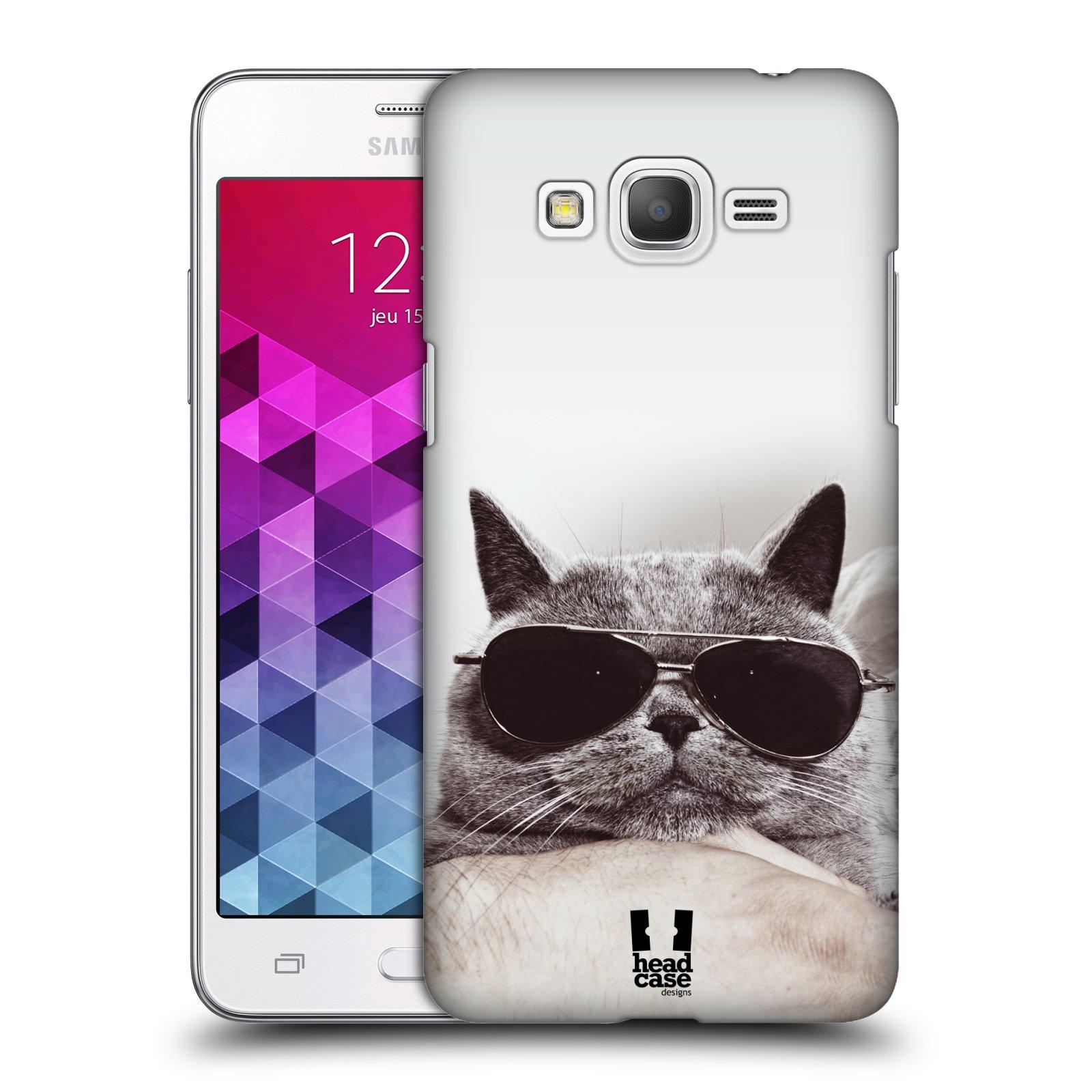 Plastové pouzdro na mobil Samsung Galaxy Grand Prime VE HEAD CASE KOTĚ S BRÝLEMI (Kryt či obal na mobilní telefon Samsung Galaxy Grand Prime VE SM-G531F)