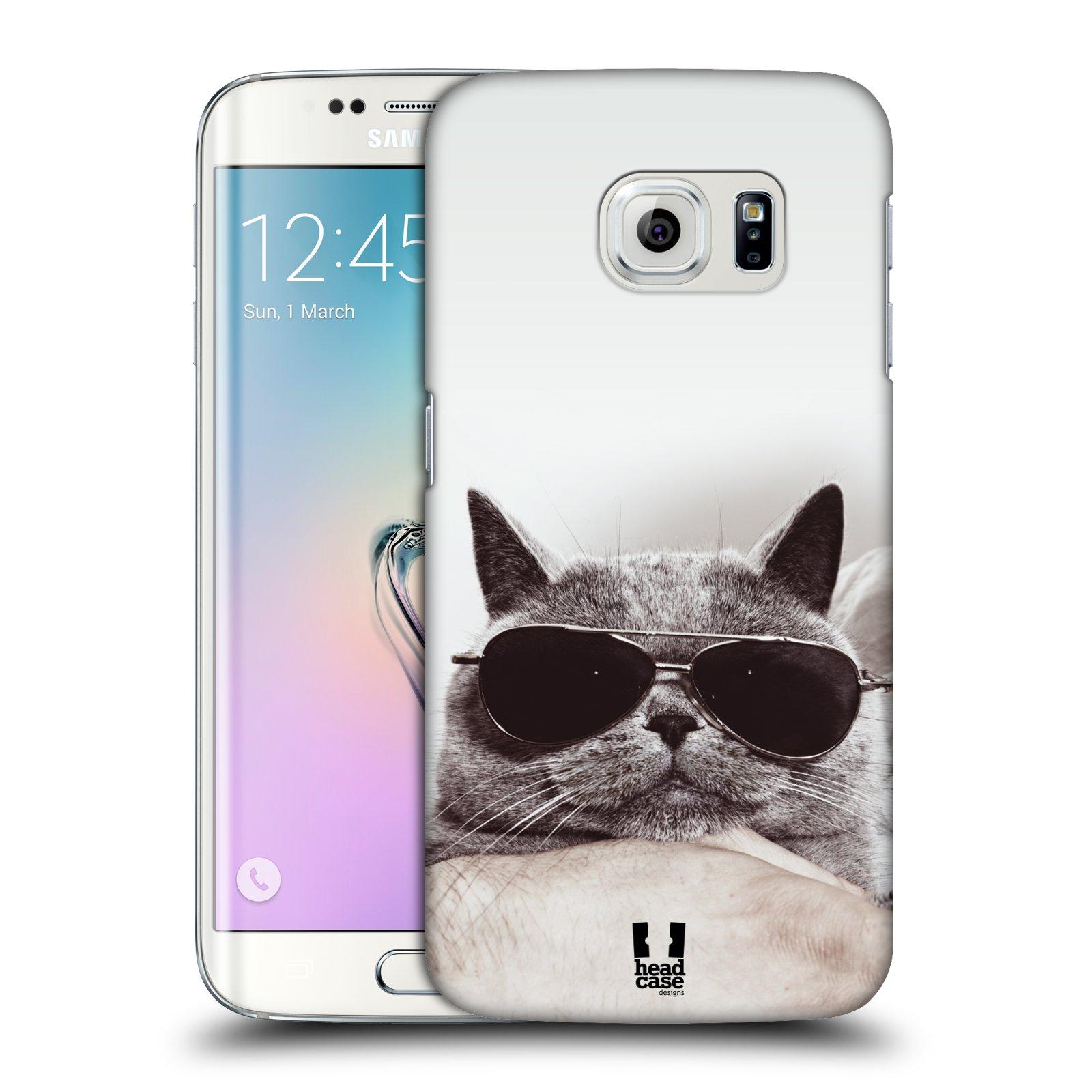 Plastové pouzdro na mobil Samsung Galaxy S6 Edge HEAD CASE KOTĚ S BRÝLEMI (Kryt či obal na mobilní telefon Samsung Galaxy S6 Edge SM-G925F)