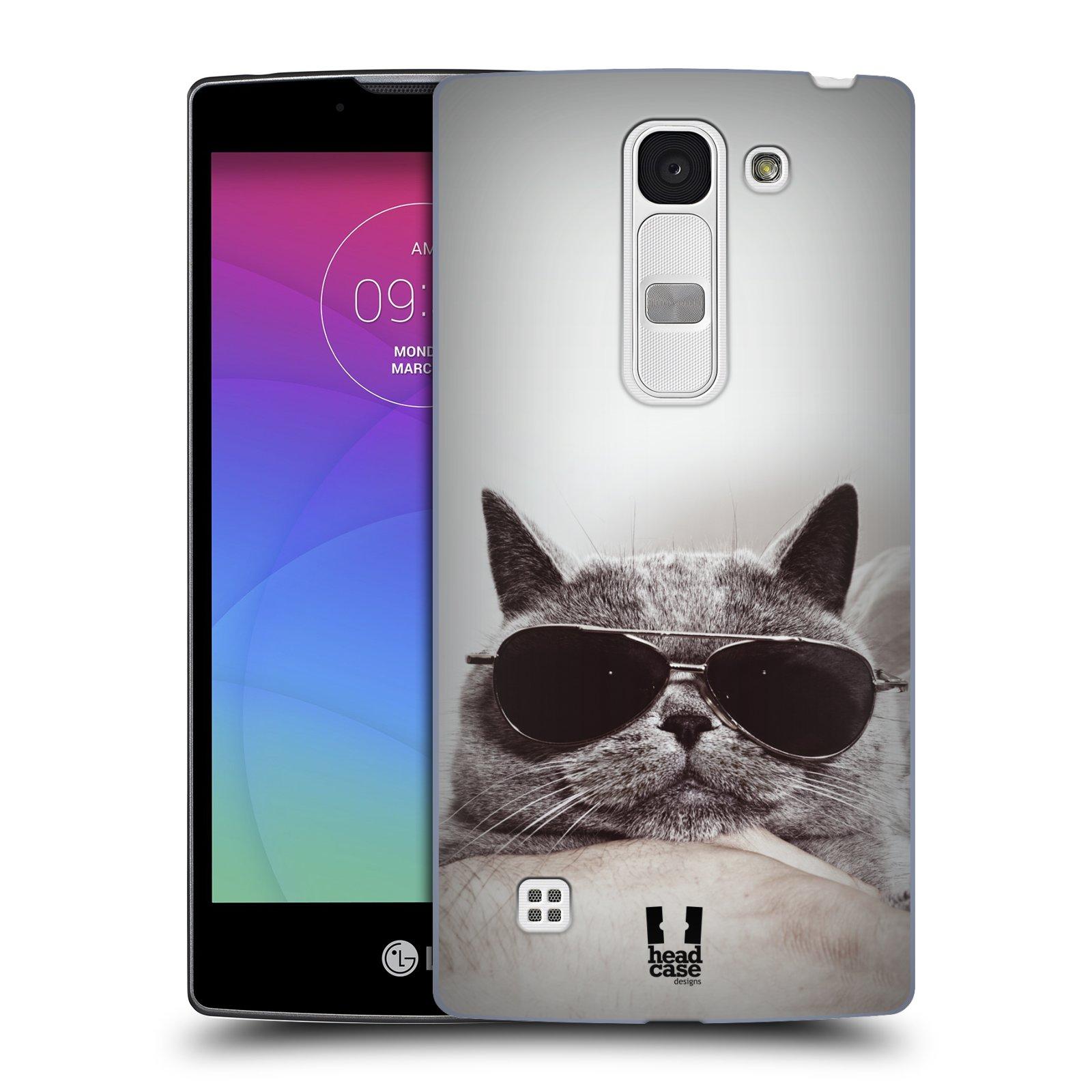 Plastové pouzdro na mobil LG Spirit LTE HEAD CASE KOTĚ S BRÝLEMI (Kryt či obal na mobilní telefon LG Spirit H420 a LG Spirit LTE H440N)