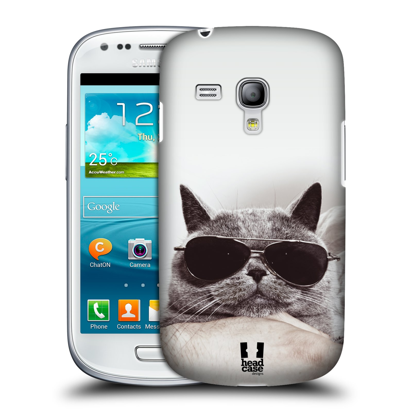 Plastové pouzdro na mobil Samsung Galaxy S III Mini HEAD CASE KOTĚ S BRÝLEMI (Kryt či obal na mobilní telefon Samsung Galaxy S III Mini GT-i8190)