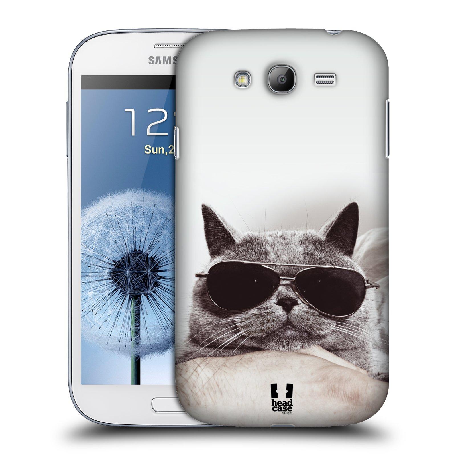 Plastové pouzdro na mobil Samsung Galaxy Grand Neo HEAD CASE KOTĚ S BRÝLEMI (Kryt či obal na mobilní telefon Samsung Galaxy Grand Neo GT-i9060)