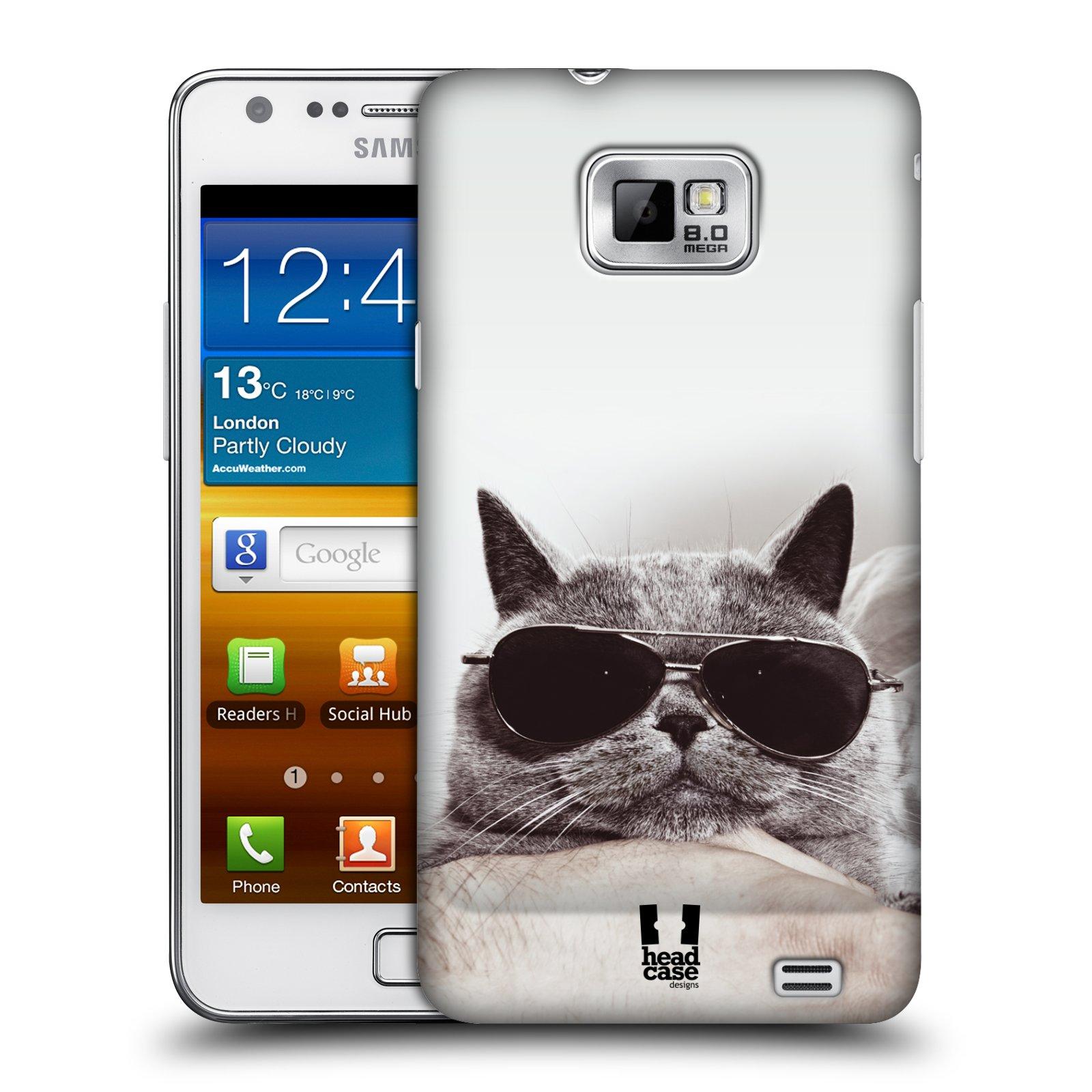 Plastové pouzdro na mobil Samsung Galaxy S II HEAD CASE KOTĚ S BRÝLEMI (Kryt či obal na mobilní telefon Samsung Galaxy S II GT-i9100)