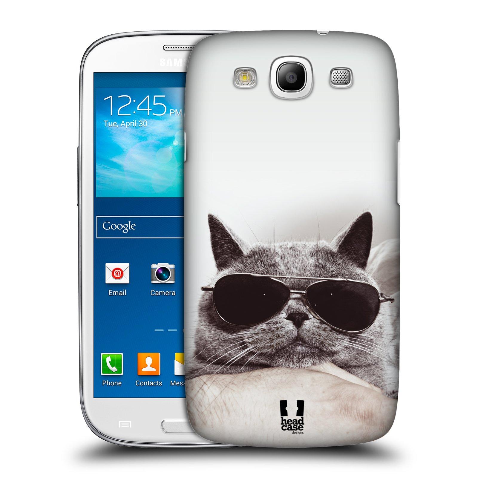 Plastové pouzdro na mobil Samsung Galaxy S3 Neo HEAD CASE KOTĚ S BRÝLEMI (Kryt či obal na mobilní telefon Samsung Galaxy S3 Neo GT-i9301i)