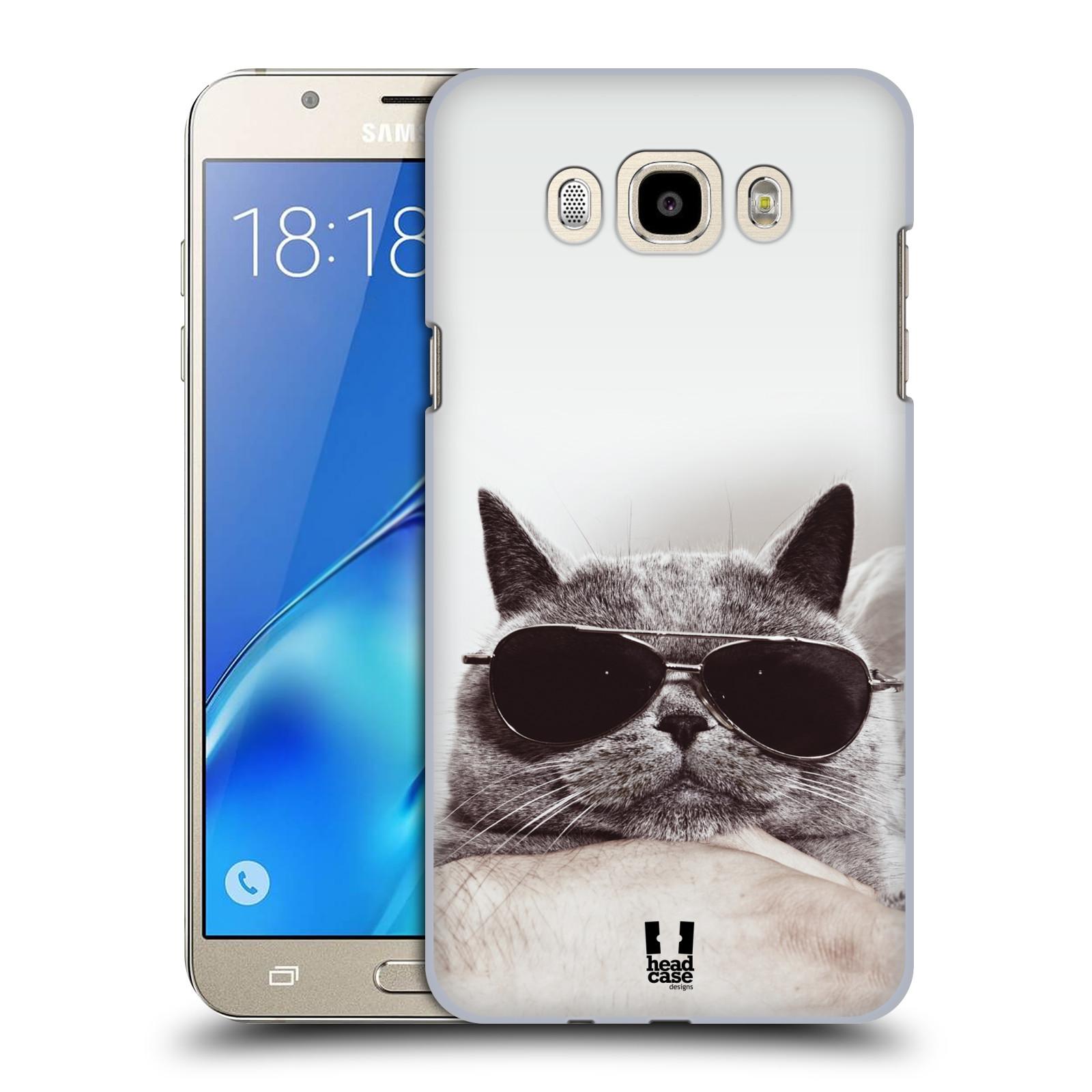 Plastové pouzdro na mobil Samsung Galaxy J7 (2016) HEAD CASE KOTĚ S BRÝLEMI (Plastový kryt či obal na mobilní telefon Samsung Galaxy J7 (2016) SM-J710F)