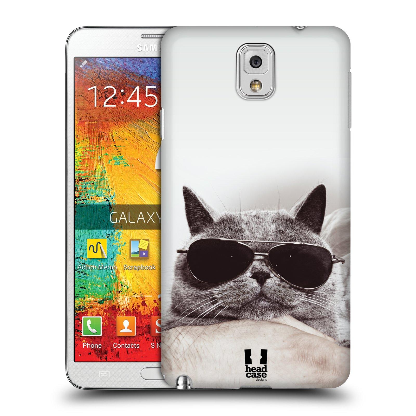 Plastové pouzdro na mobil Samsung Galaxy Note 3 HEAD CASE KOTĚ S BRÝLEMI (Kryt či obal na mobilní telefon Samsung Galaxy Note 3 SM-N9005)