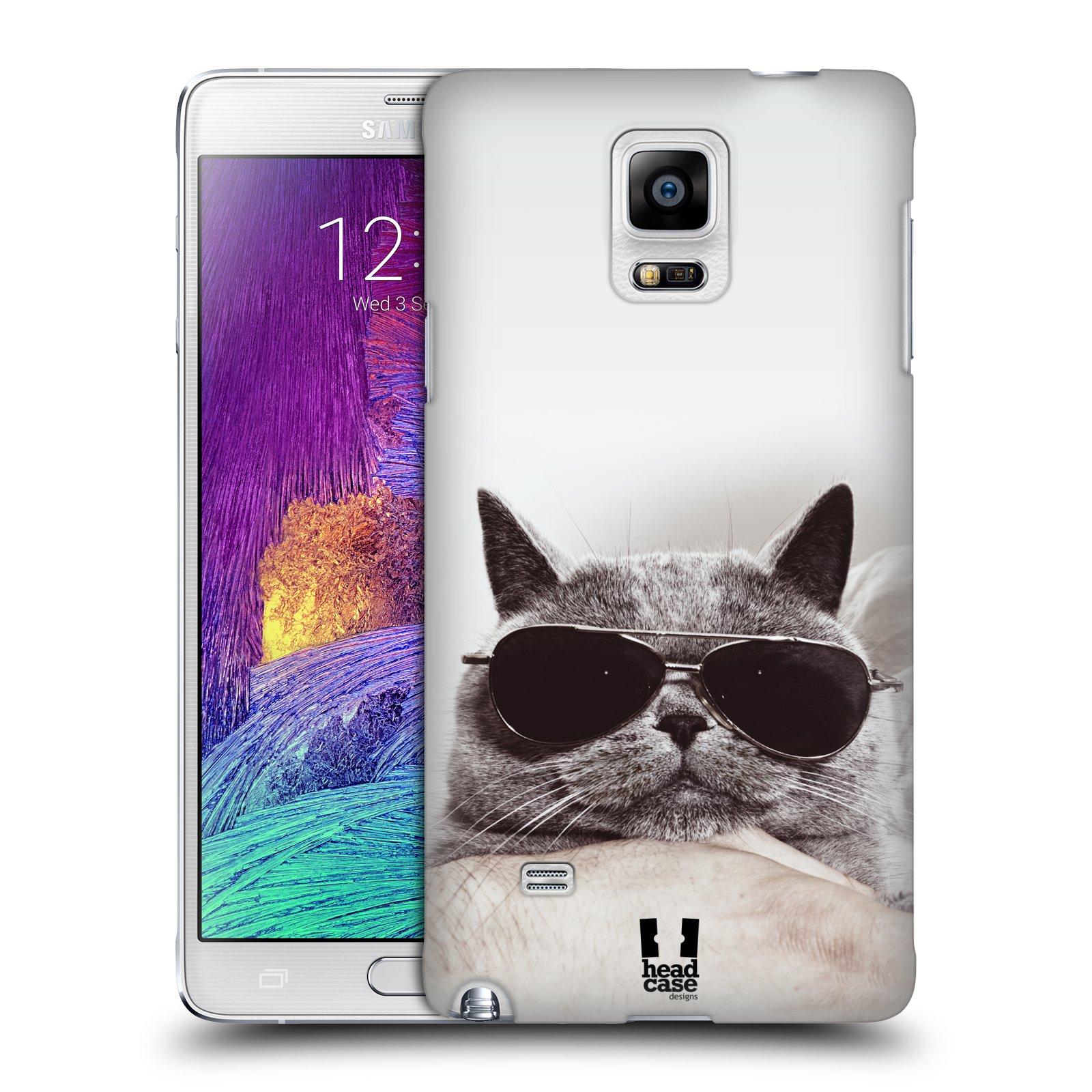 Plastové pouzdro na mobil Samsung Galaxy Note 4 HEAD CASE KOTĚ S BRÝLEMI (Kryt či obal na mobilní telefon Samsung Galaxy Note 4 SM-N910F)