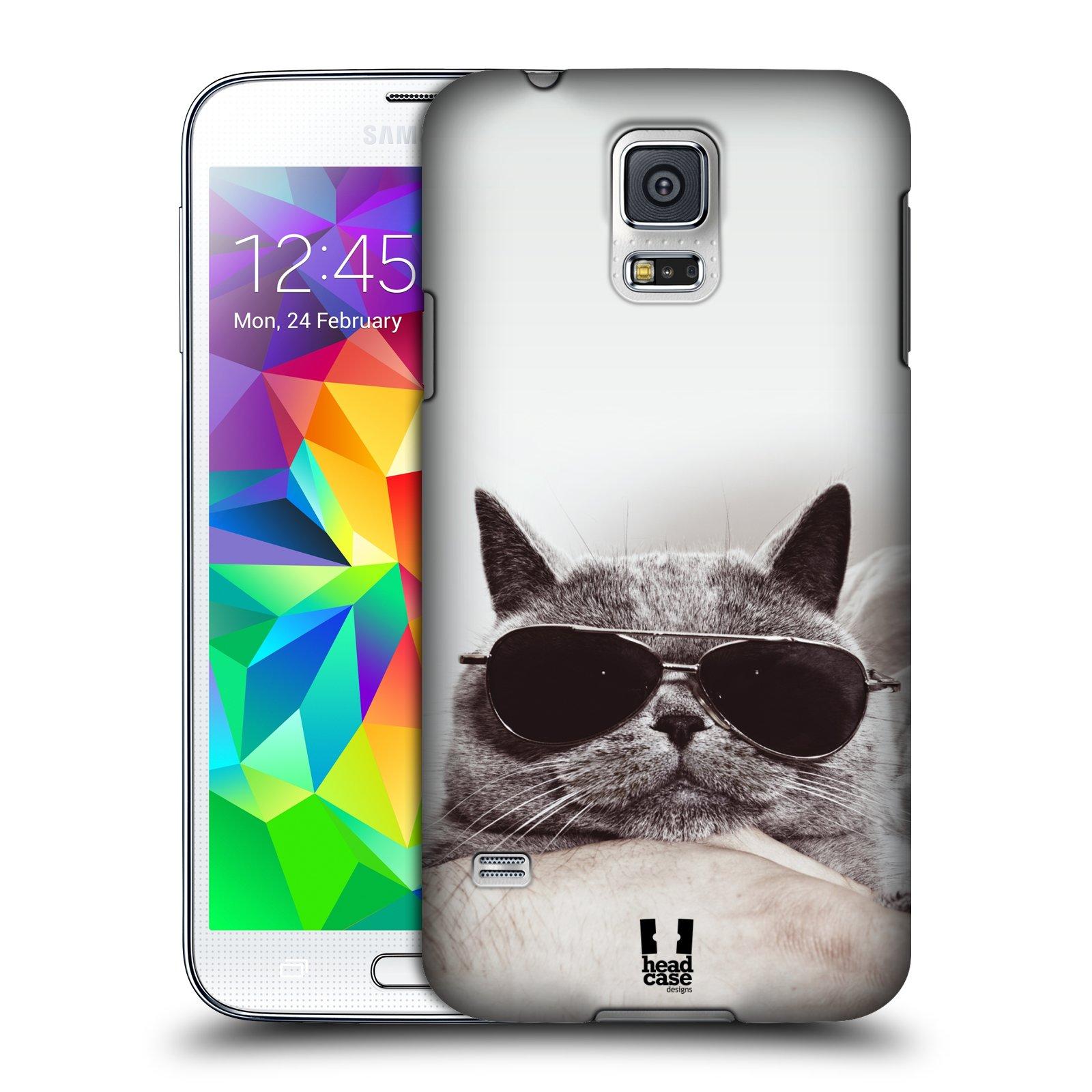 Plastové pouzdro na mobil Samsung Galaxy S5 Neo HEAD CASE KOTĚ S BRÝLEMI (Kryt či obal na mobilní telefon Samsung Galaxy S5 Neo SM-G903F)