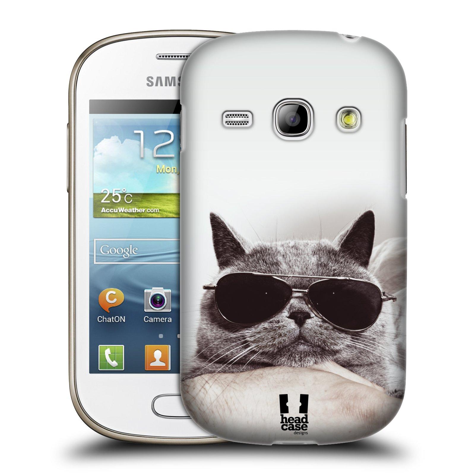 Plastové pouzdro na mobil Samsung Galaxy Fame HEAD CASE KOTĚ S BRÝLEMI (Kryt či obal na mobilní telefon Samsung Galaxy Fame GT-S6810)