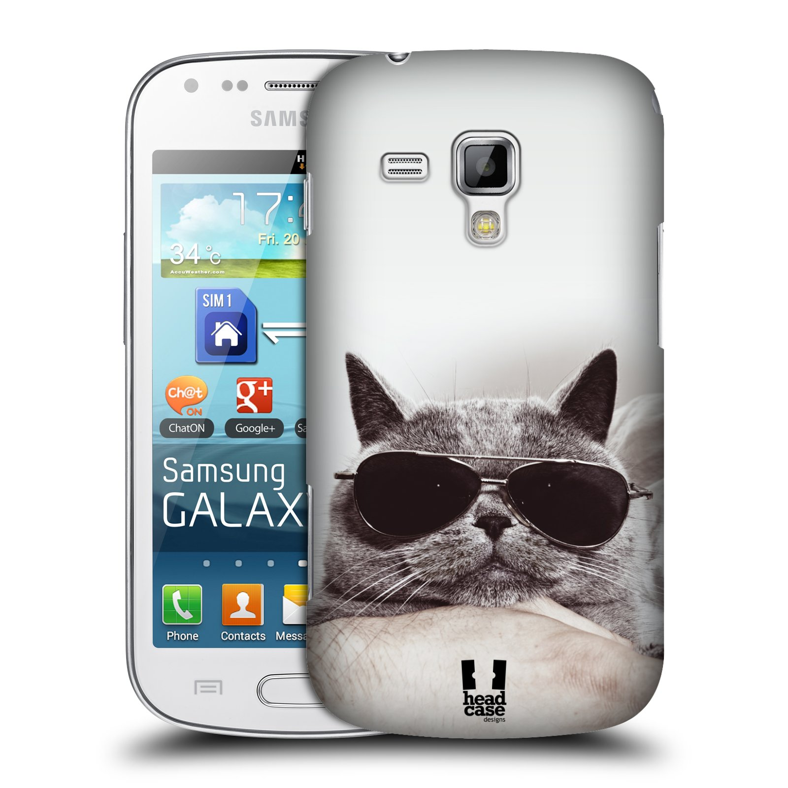 Plastové pouzdro na mobil Samsung Galaxy Trend Plus HEAD CASE KOTĚ S BRÝLEMI (Kryt či obal na mobilní telefon Samsung Galaxy Trend Plus GT-S7580)