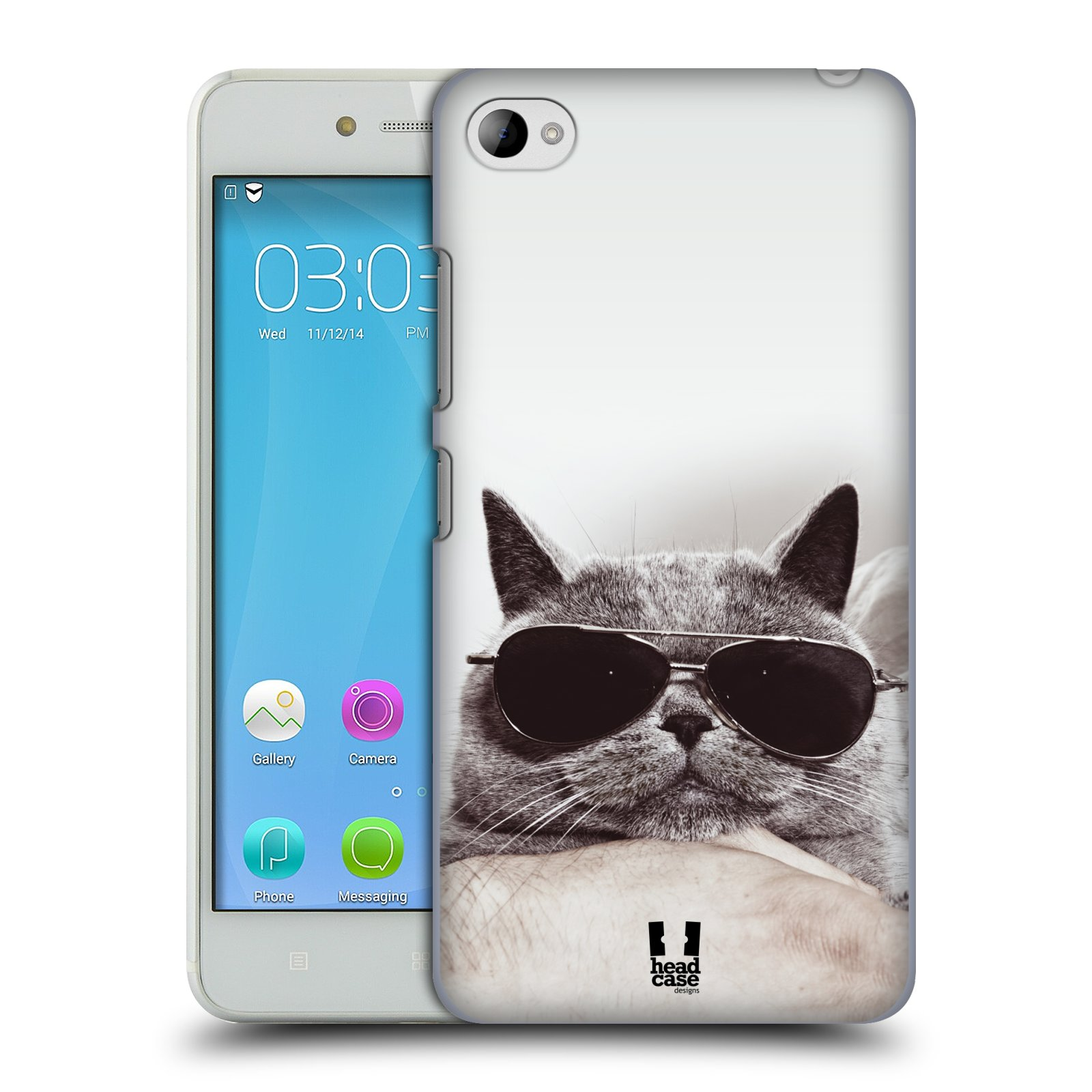 Plastové pouzdro na mobil Lenovo S90 HEAD CASE KOTĚ S BRÝLEMI (Kryt či obal na mobilní telefon Lenovo S90)
