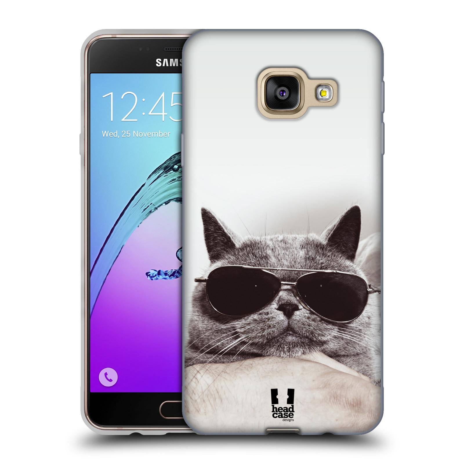 Silikonové pouzdro na mobil Samsung Galaxy A3 (2016) HEAD CASE KOTĚ S BRÝLEMI (Silikonový kryt či obal na mobilní telefon Samsung Galaxy A3 (2016) SM-A310F)