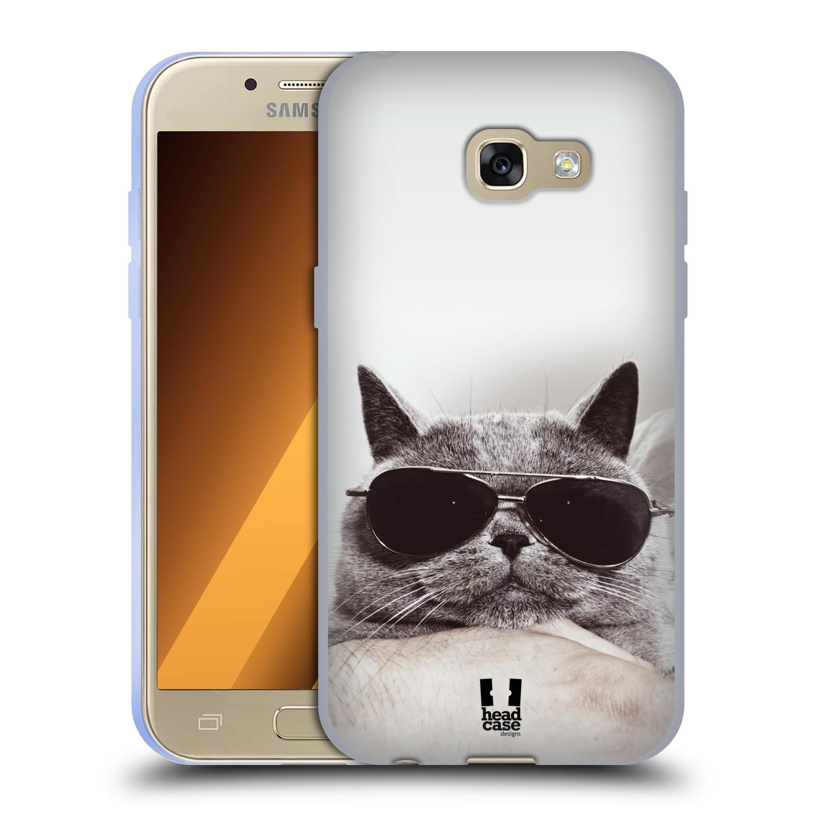 Silikonové pouzdro na mobil Samsung Galaxy A3 (2017) HEAD CASE KOTĚ S BRÝLEMI (Silikonový kryt či obal na mobilní telefon Samsung Galaxy A3 2017 SM-A320)