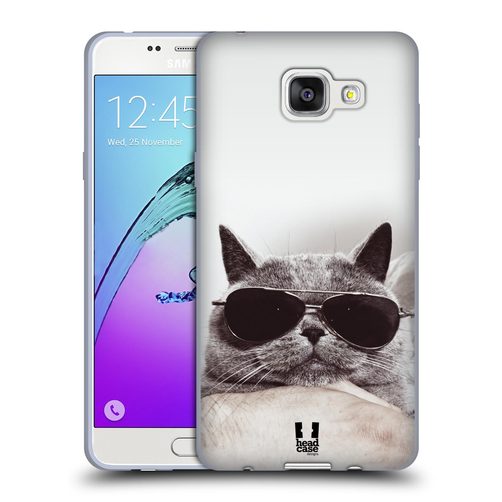 Silikonové pouzdro na mobil Samsung Galaxy A5 (2016) HEAD CASE KOTĚ S BRÝLEMI (Silikonový kryt či obal na mobilní telefon Samsung Galaxy A5 (2016) SM-A510F)